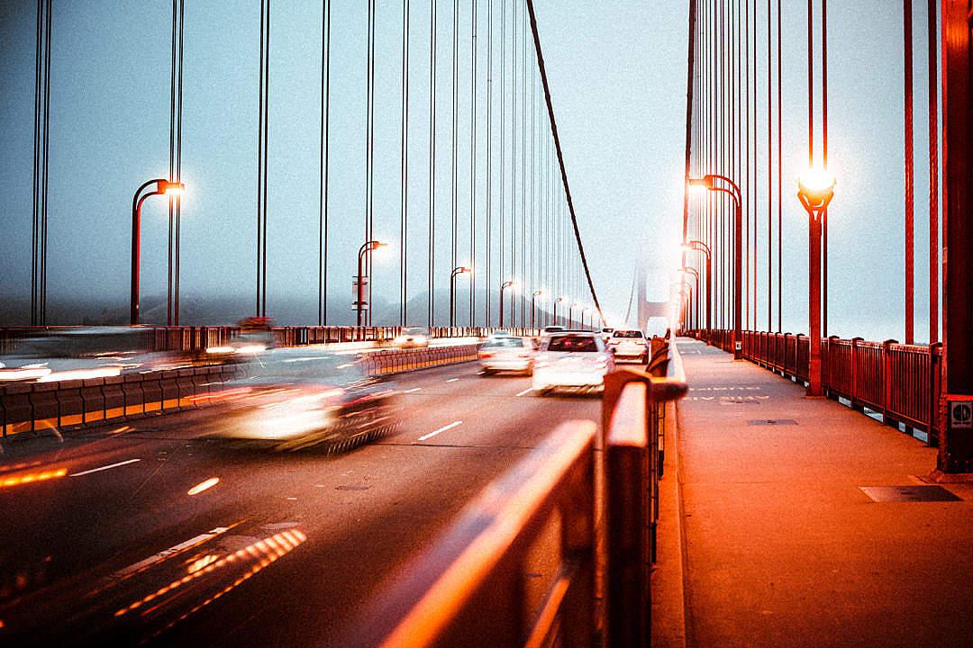 Download Evening Traffic on the Golden Gate Bridge FREE Stock Photo