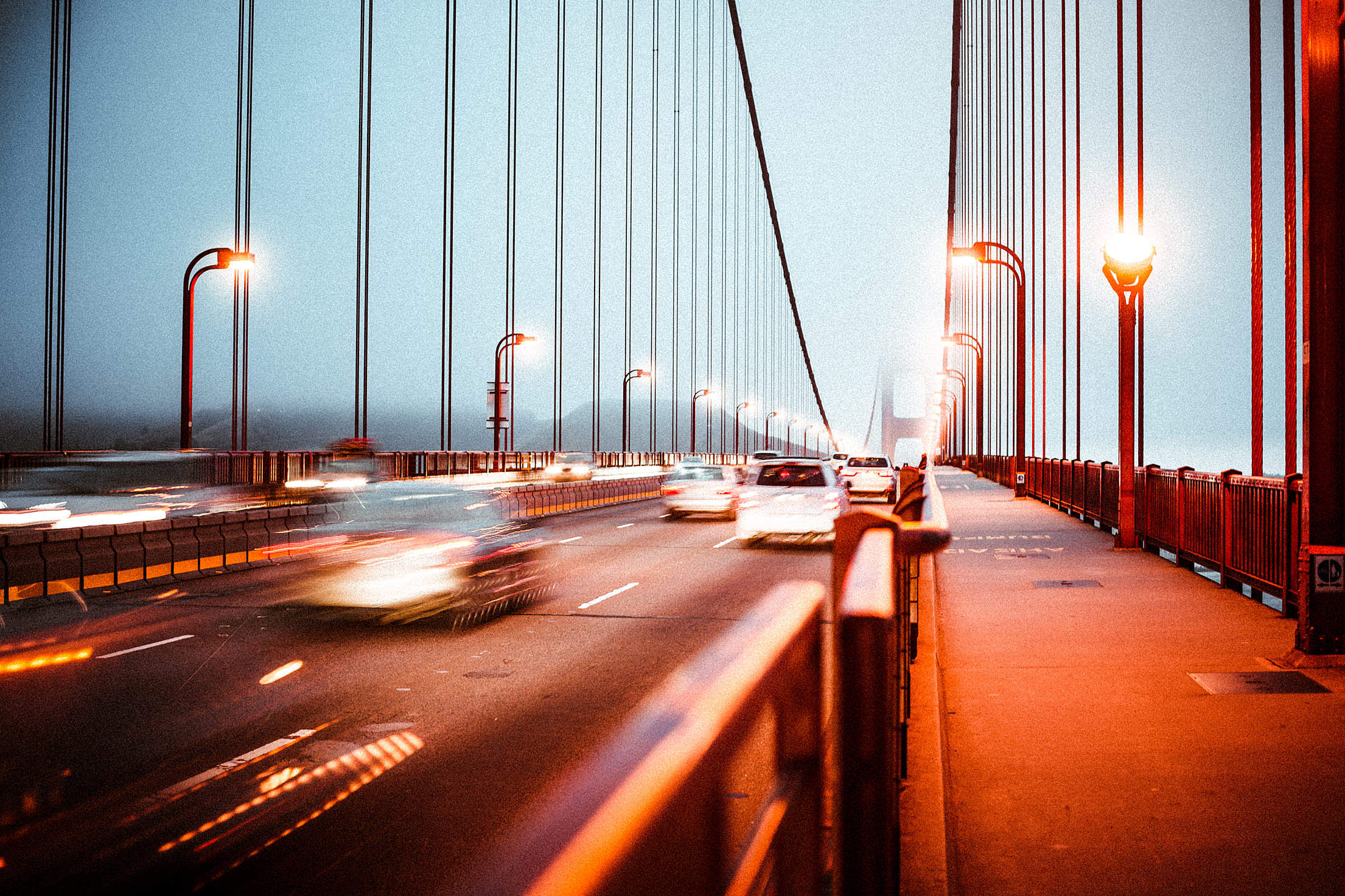 Download Evening Traffic on the Golden Gate Bridge Free Stock Photo