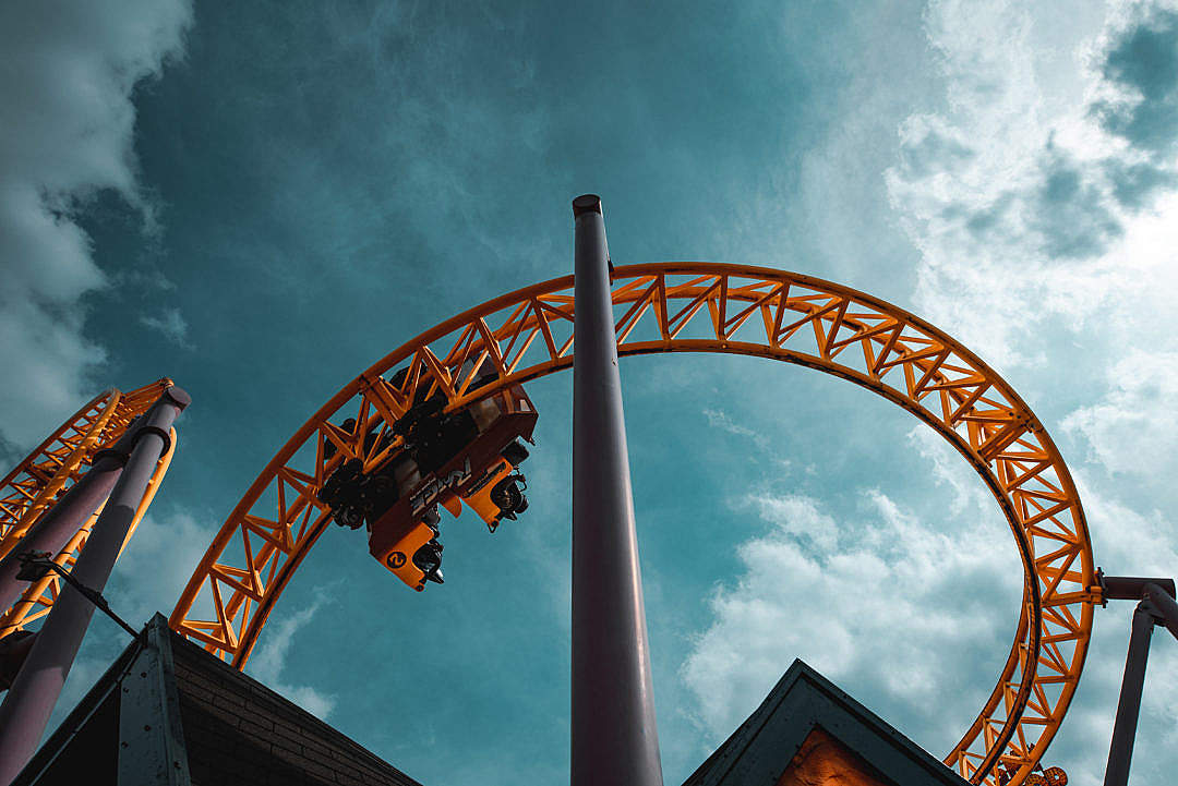 Download Exciting Rollercoaster in The Sky FREE Stock Photo