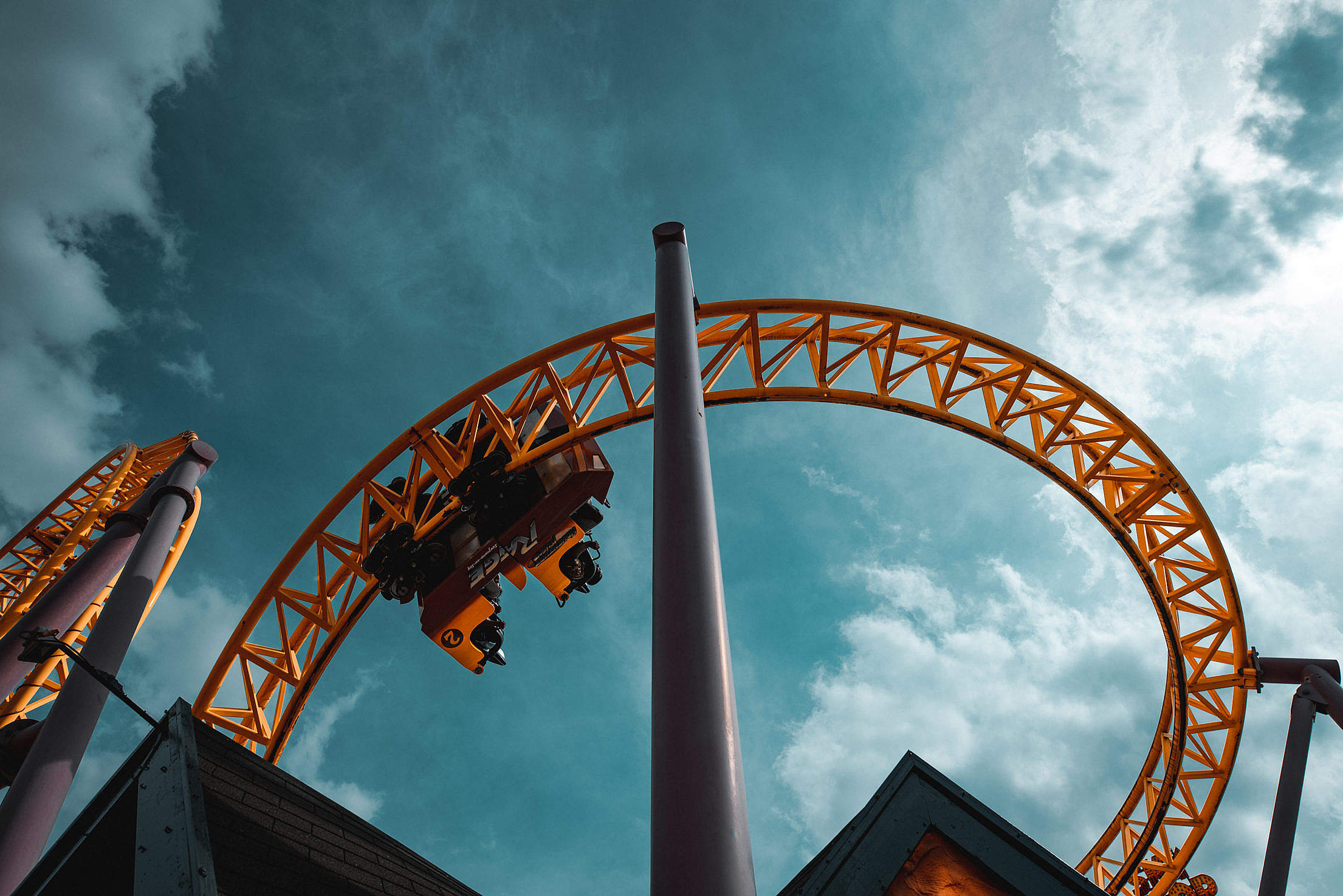 Exciting Rollercoaster in The Sky Free Stock Photo