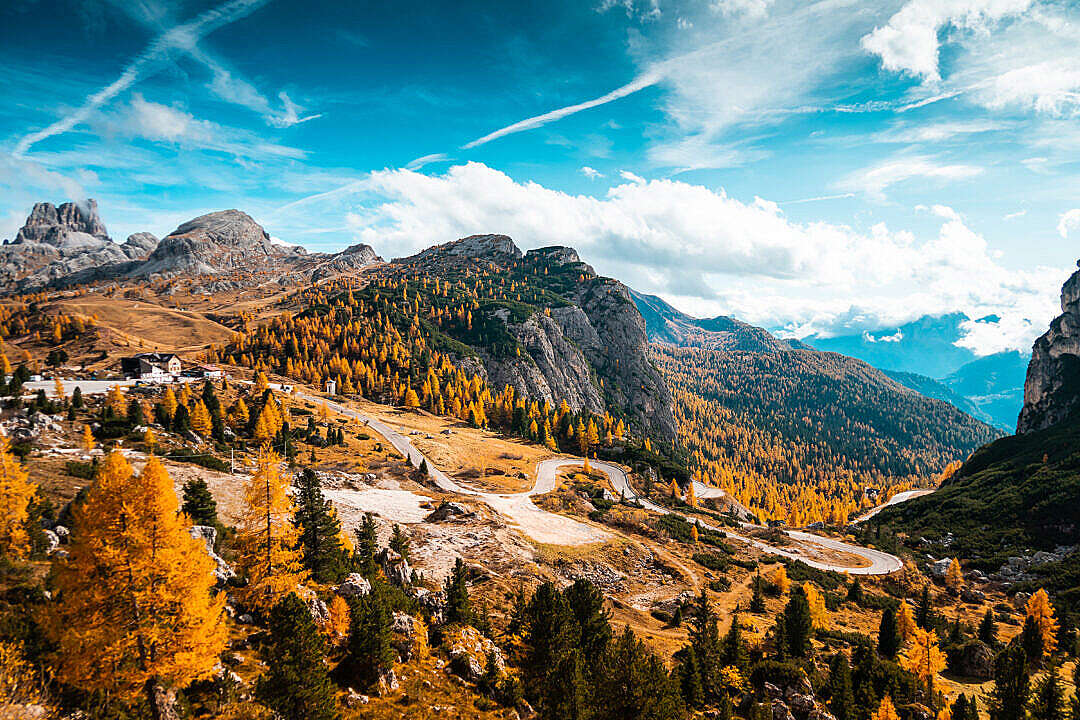 Download Falzarego Pass Mountain Road in Dolomites, Italy FREE Stock Photo