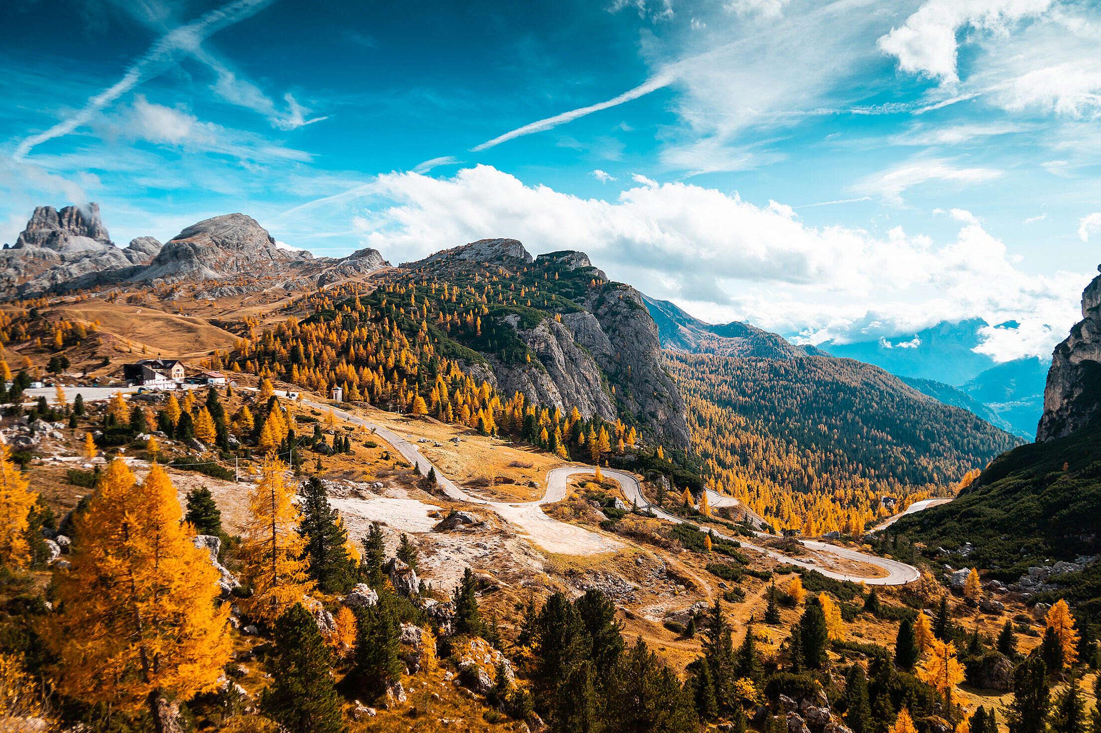 Falzarego Pass Mountain Road in Dolomites, Italy Free Stock Photo