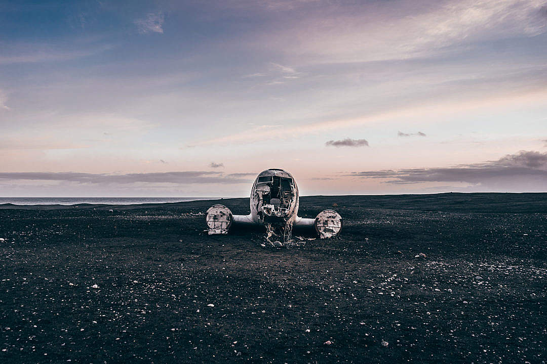 Download Famous Crashed Plane in Iceland FREE Stock Photo
