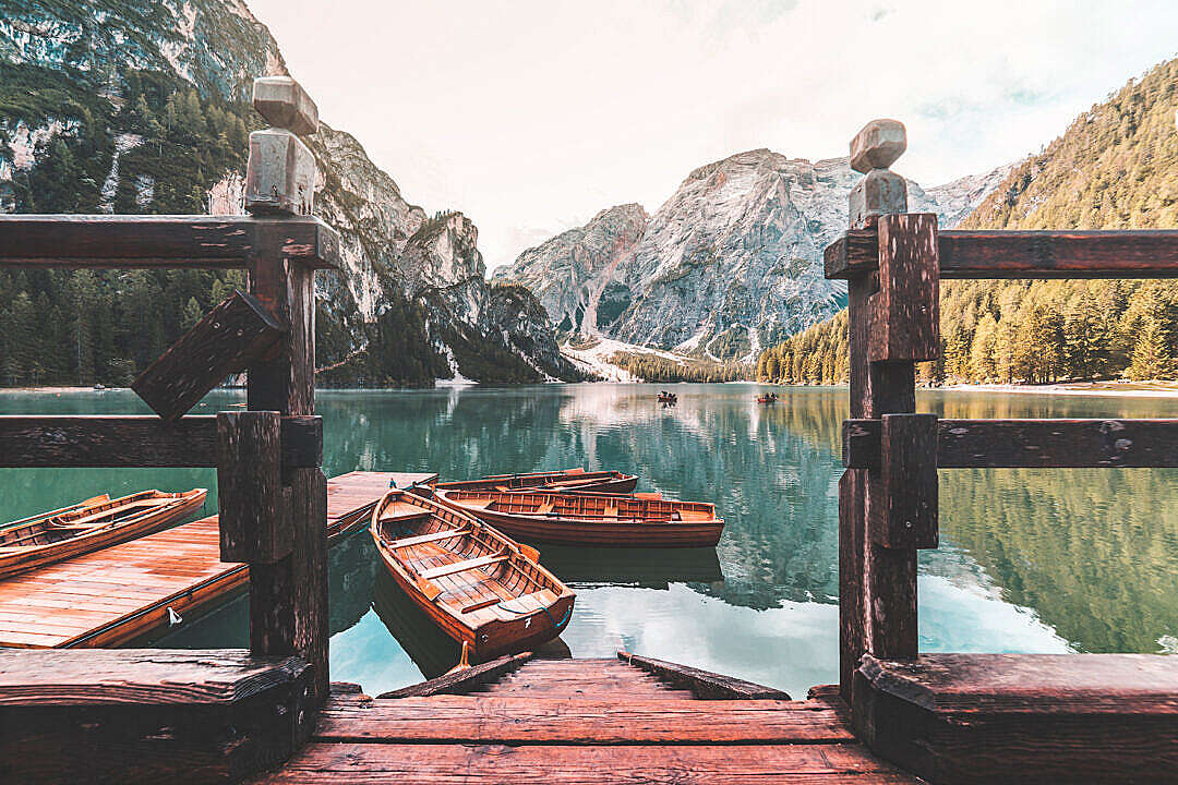 Download Famous Lago di Braies (Pragser Wildsee) in Italy FREE Stock Photo
