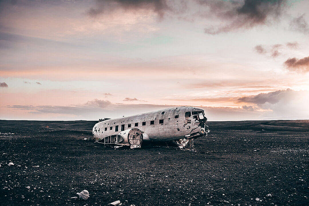 Download Famous Plane Wreck in Iceland FREE Stock Photo