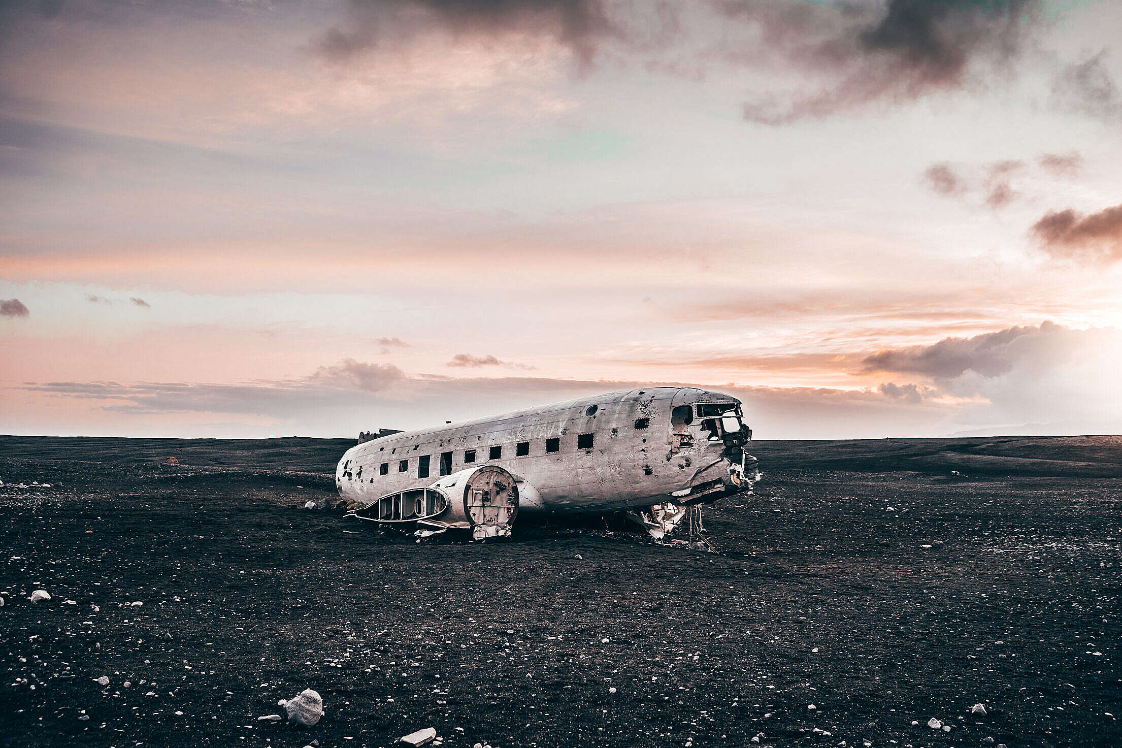 Famous Plane Wreck in Iceland Free Stock Photo
