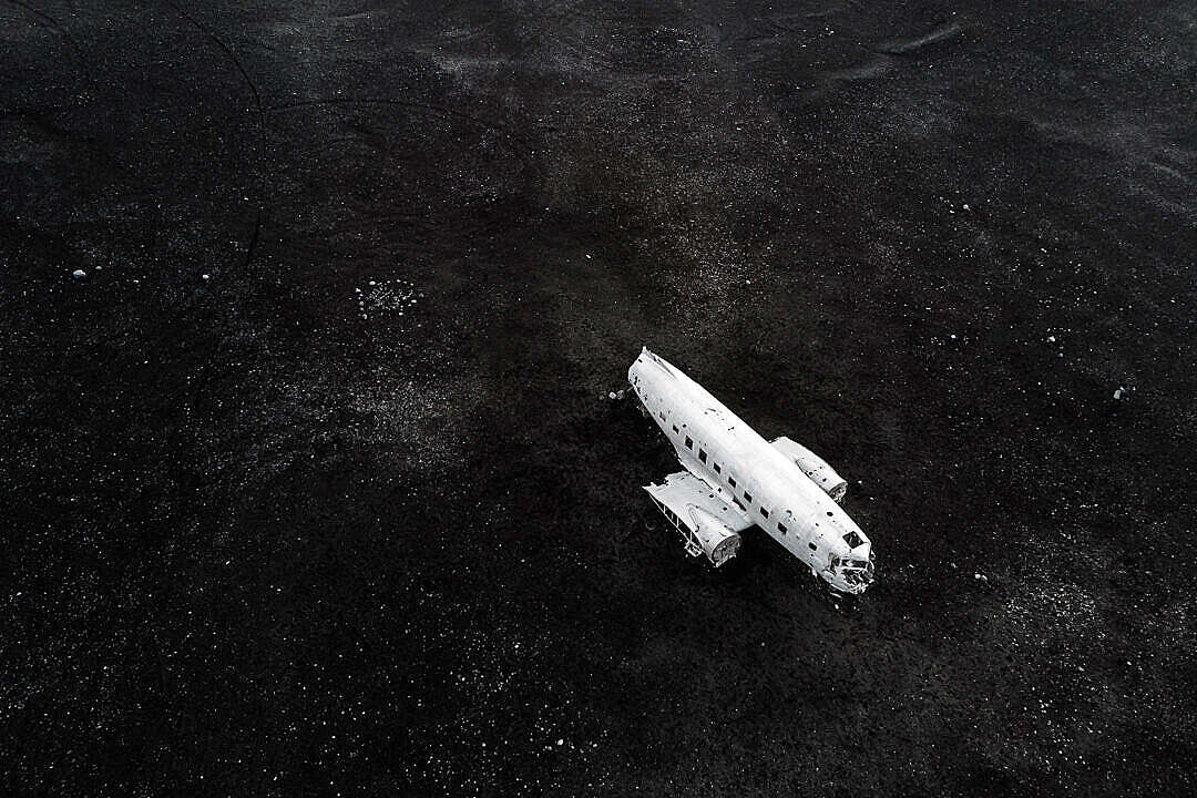 Download Famous Plane Wreck on The Black Sand in Iceland FREE Stock Photo