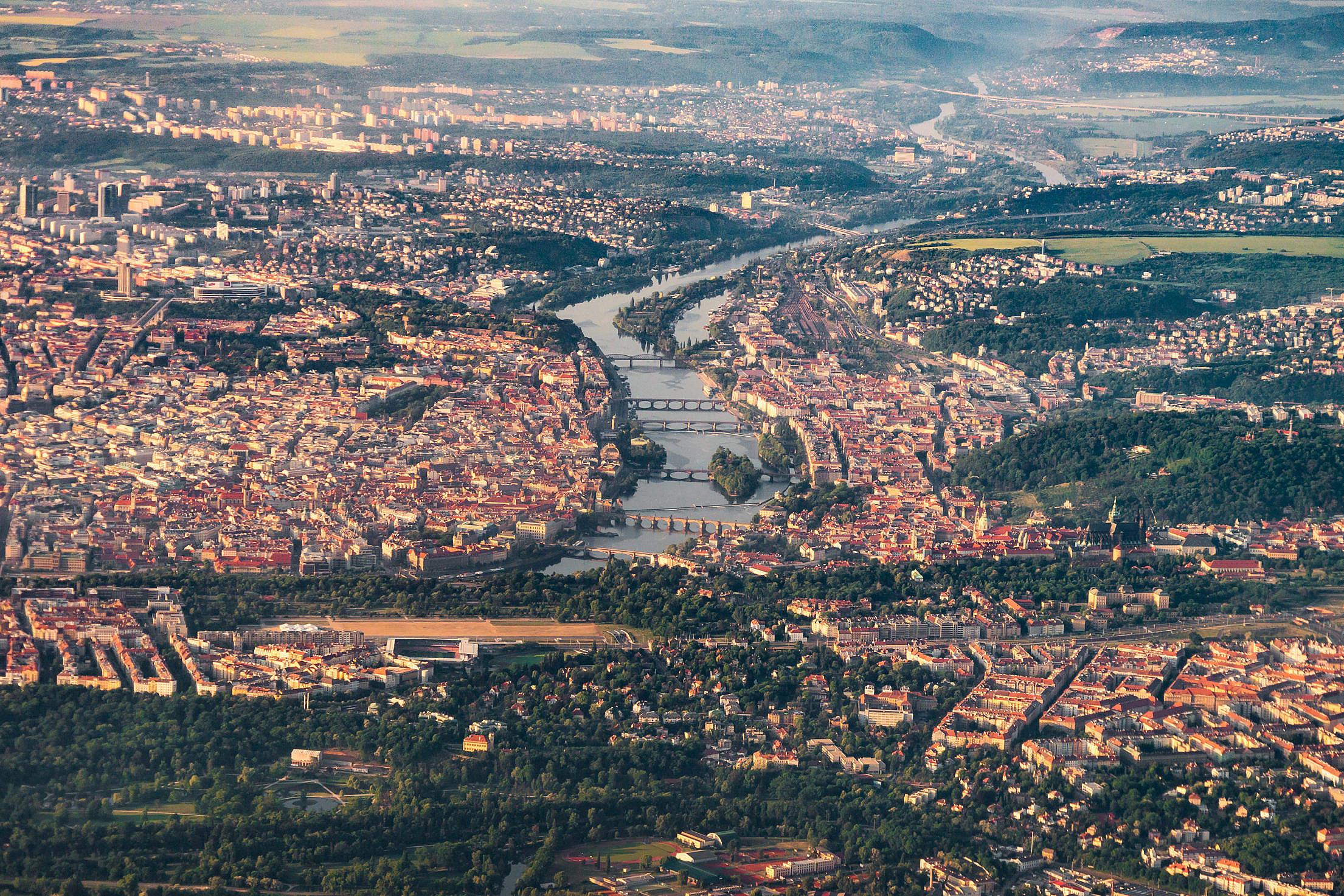 Famous Prague Bridges in Czech Republic Aerial View Free Stock Photo