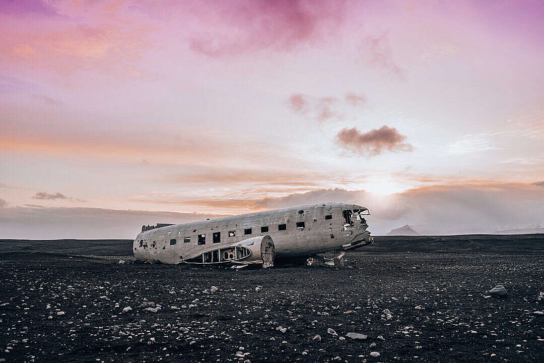 Download Famous Wrecked Plane in Iceland FREE Stock Photo