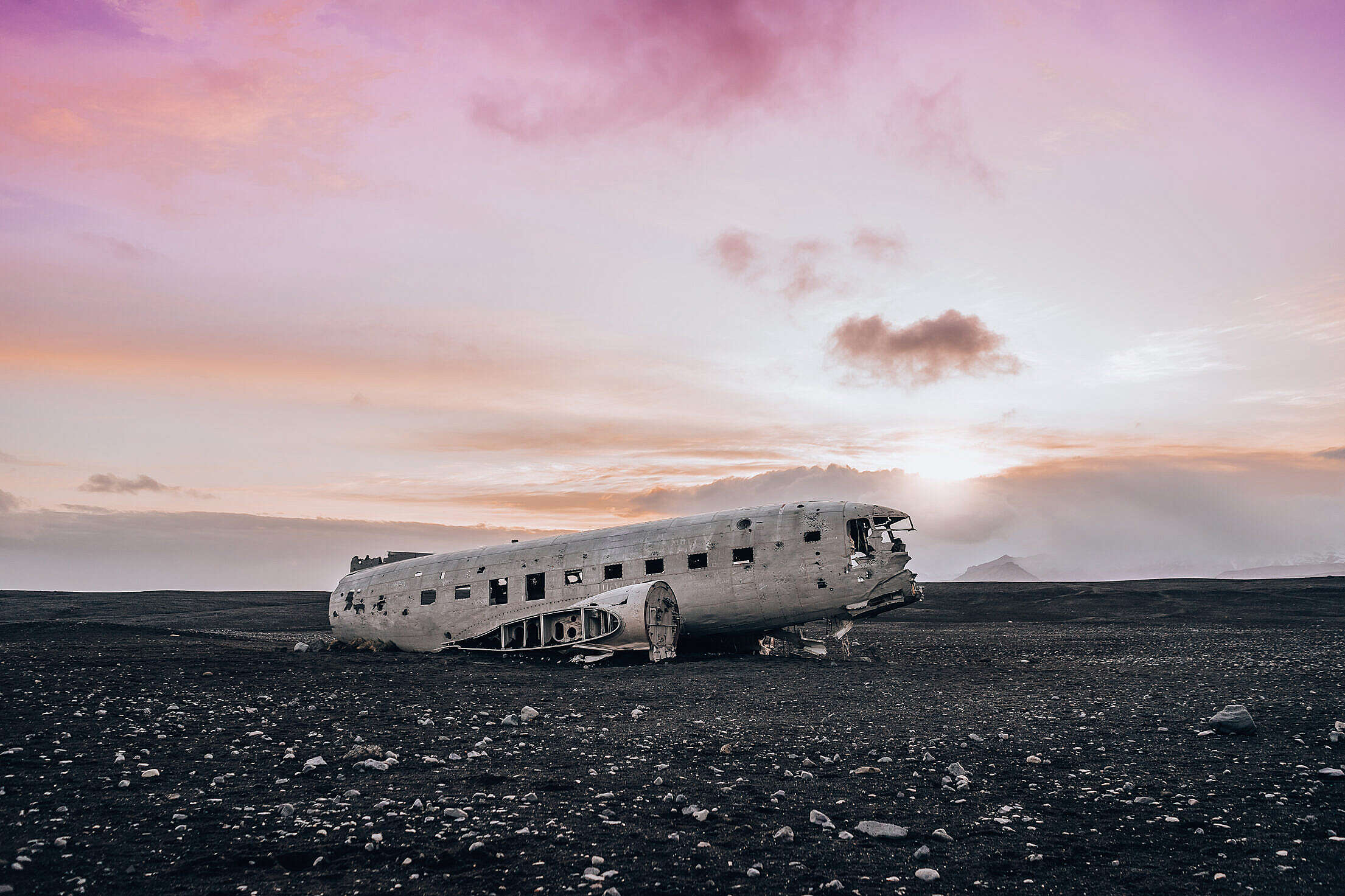 Famous Wrecked Plane in Iceland Free Stock Photo