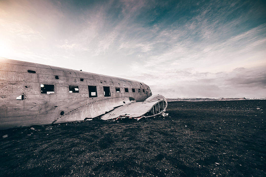 Download Famous Wrecked Plane on The Coast of Iceland FREE Stock Photo