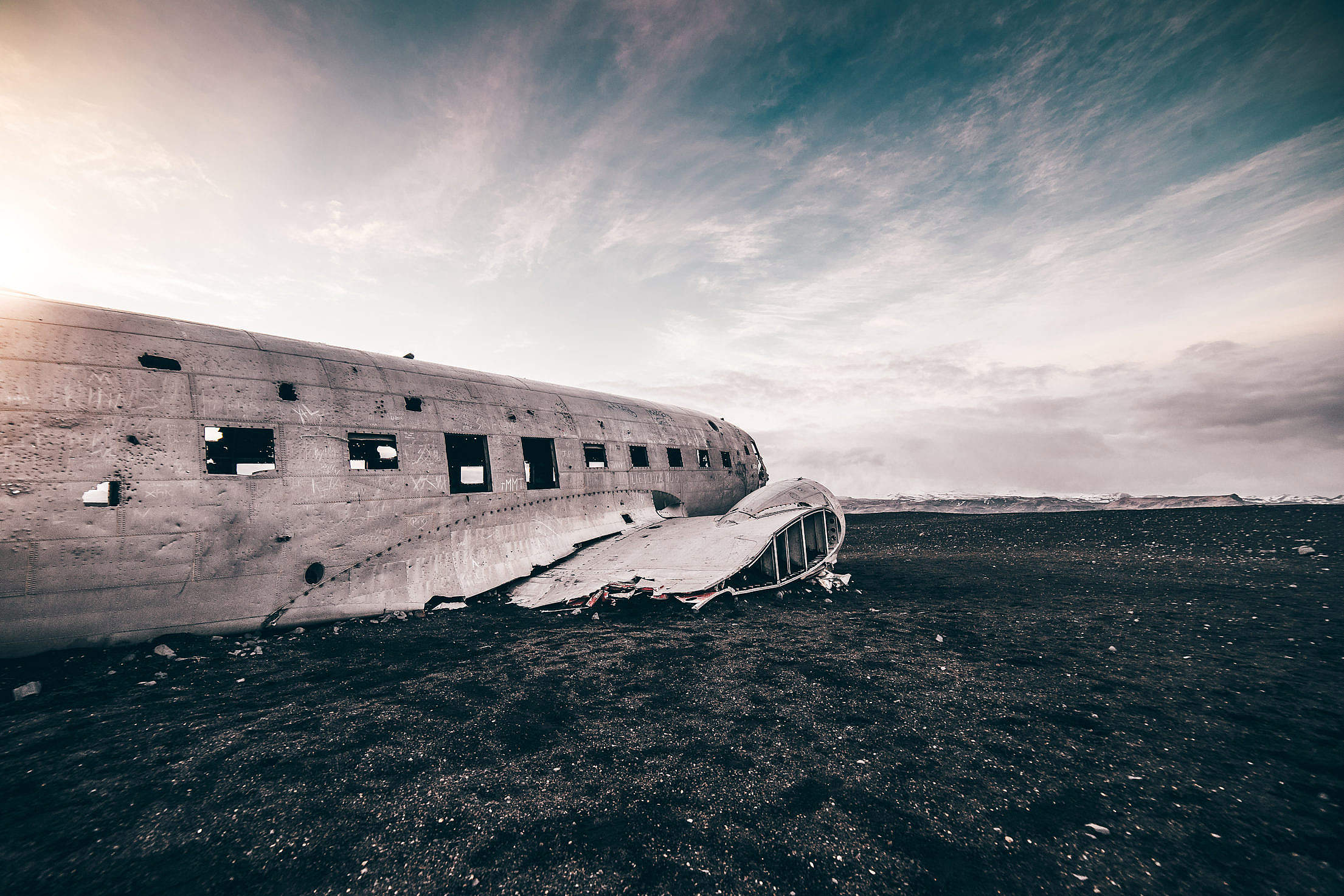 Famous Wrecked Plane on The Coast of Iceland Free Stock Photo