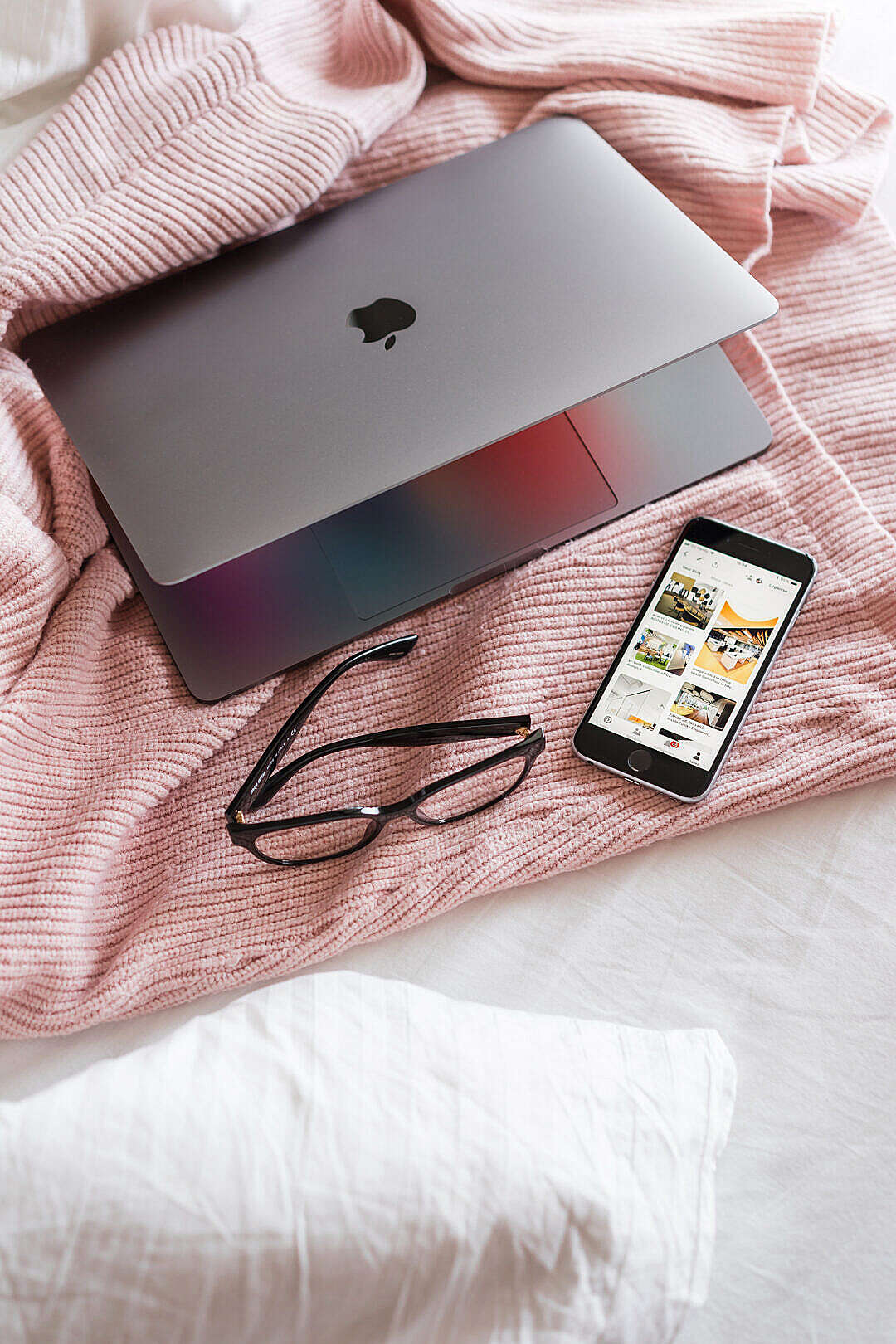 Download Feminine Ladypreneur Laptop and Smartphone on Bed FREE Stock Photo