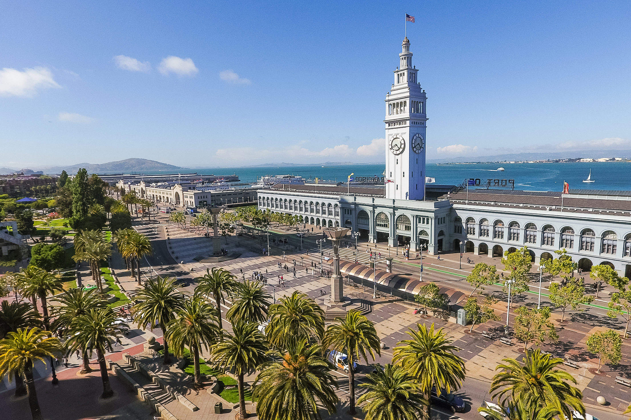 Ferry Building Port of San Francisco with Square Free Stock Photo