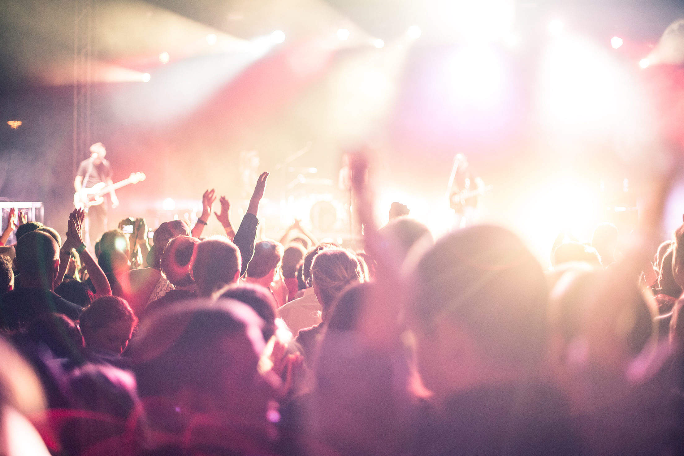 Festival Hands Up People Partying Free Stock Photo