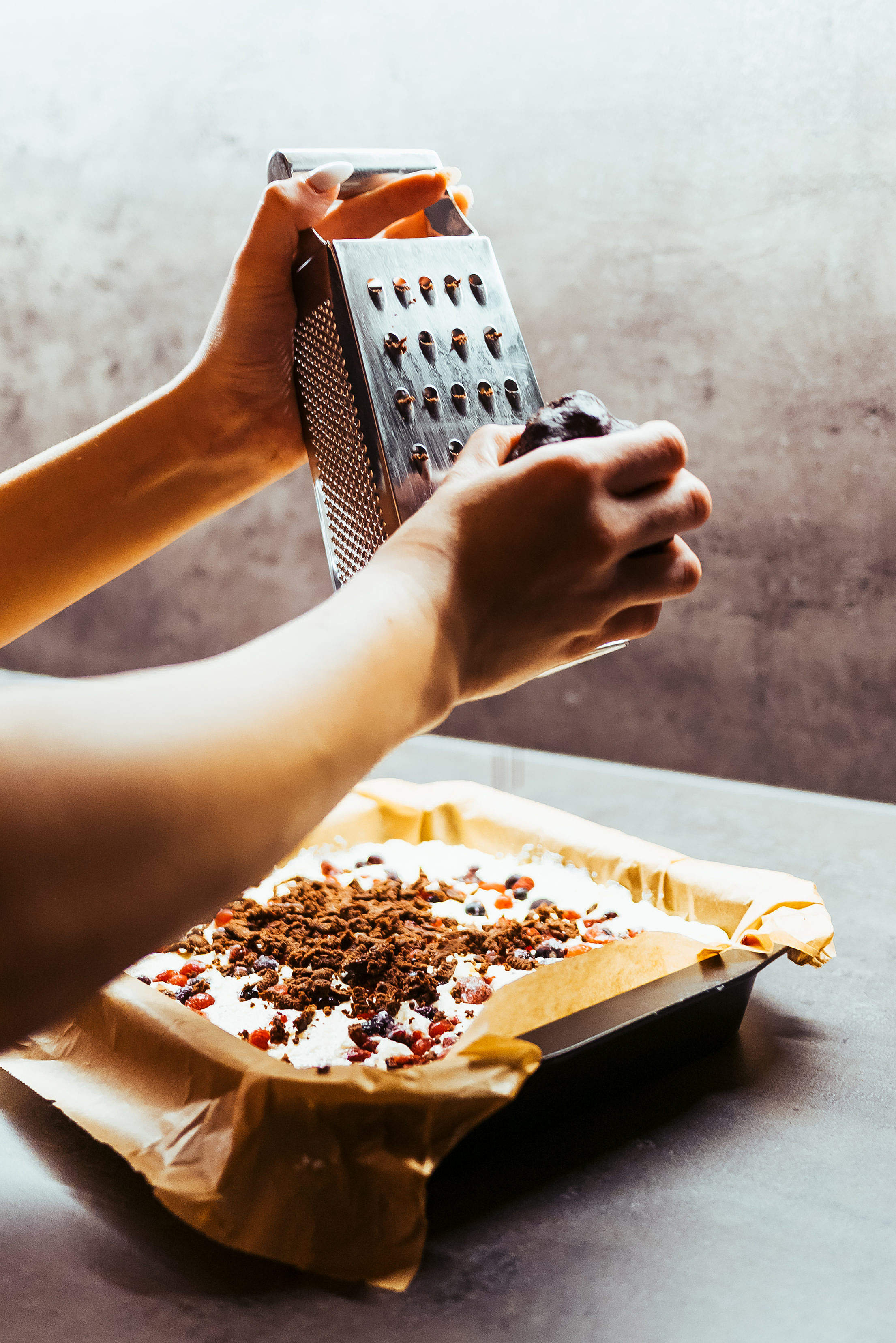 Download Finishing Fruit Cake with Chocolate Streusel Free Stock Photo