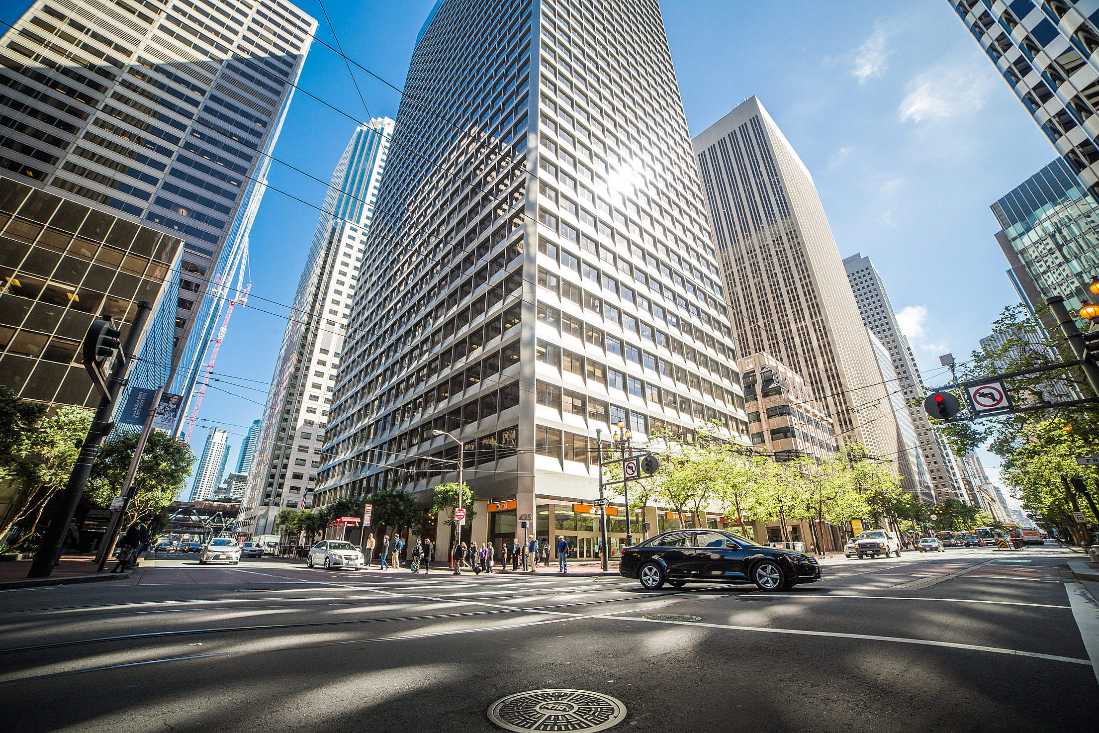 Fisheye Shot of Streets and Skyscrapers in a Big City Free Stock Photo