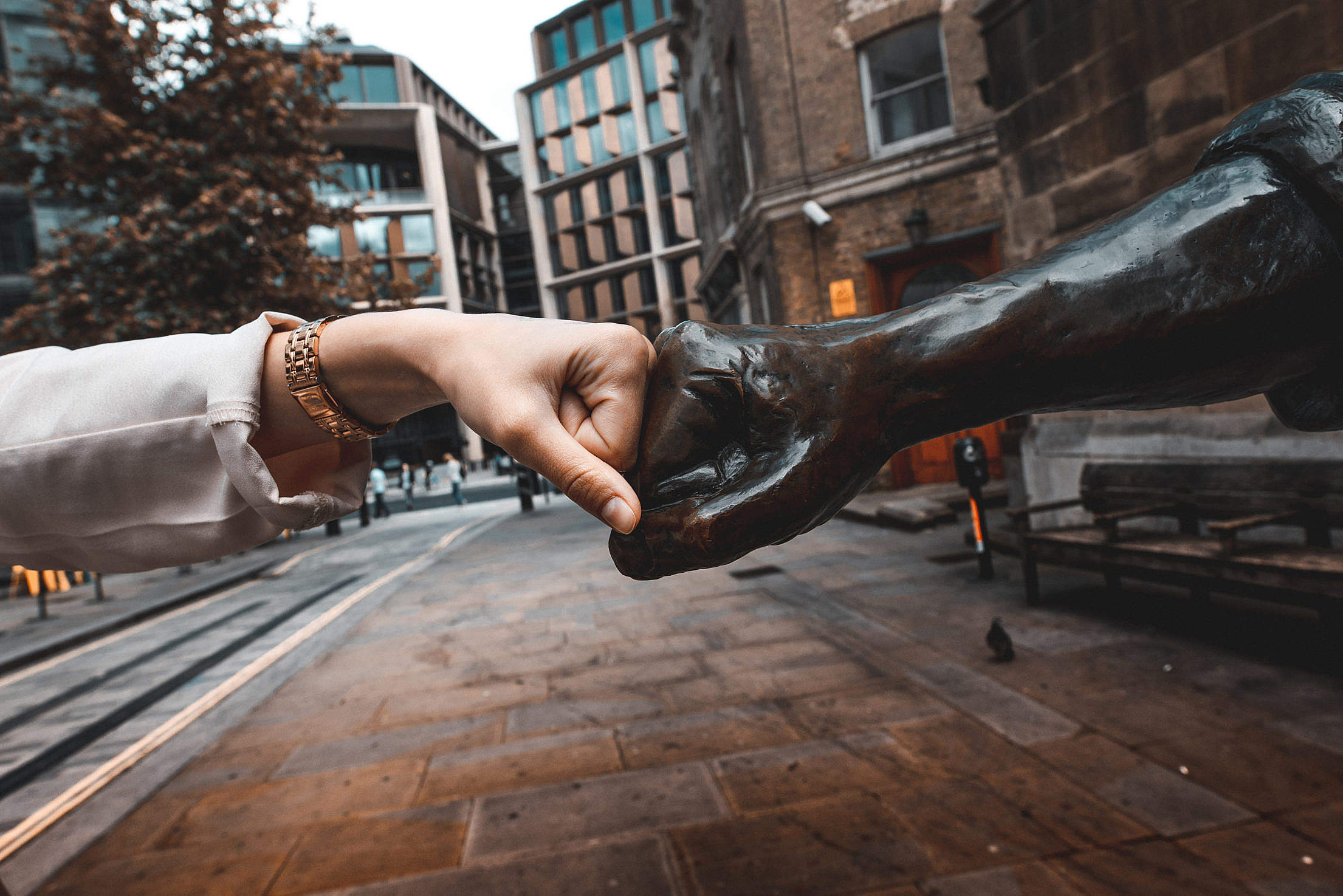Fist Bump with Cordwainer Statue, London Free Stock Photo