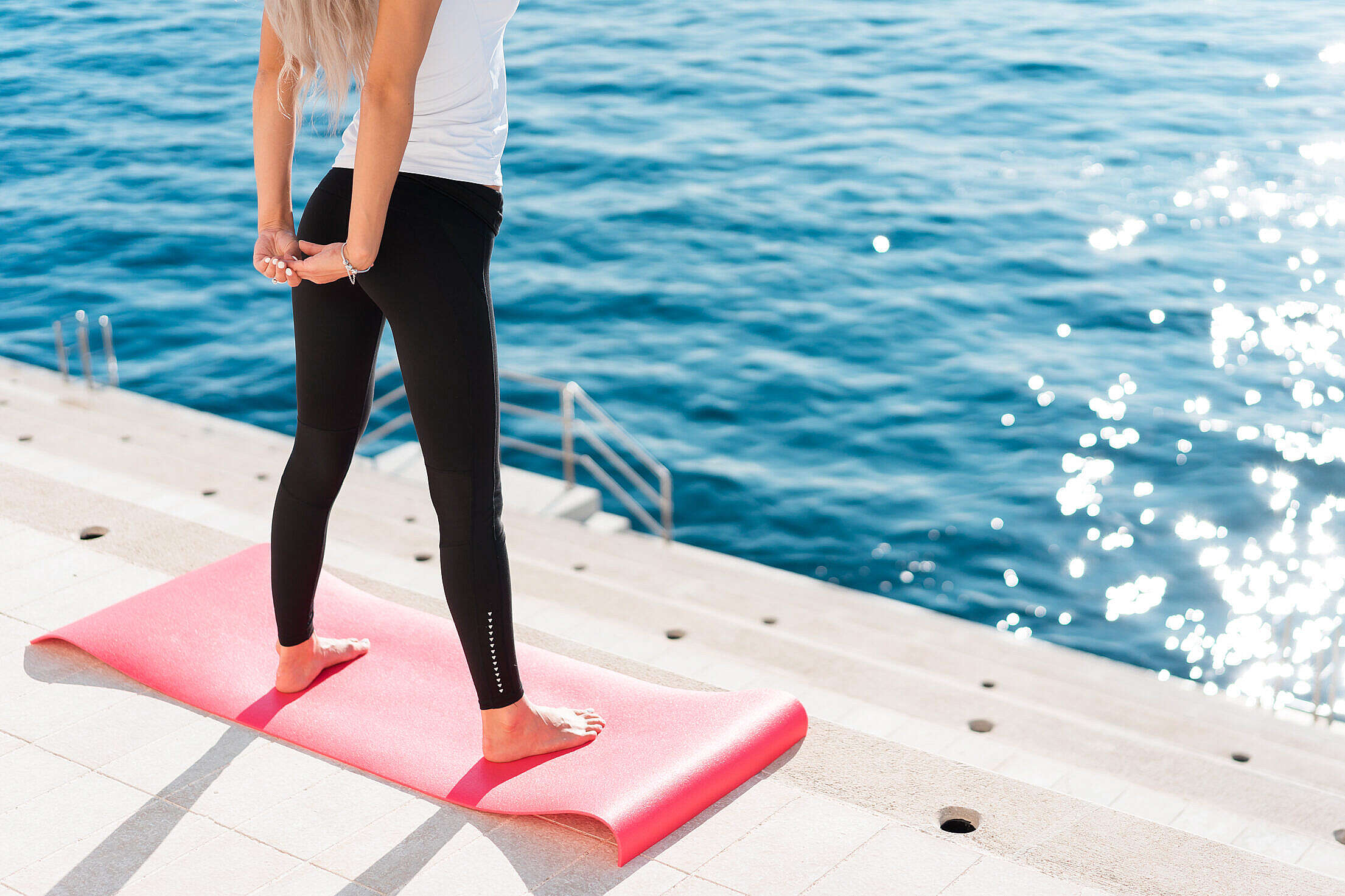 Fit Woman Stretching Her Body in Morning Yoga Routine Free Stock Photo
