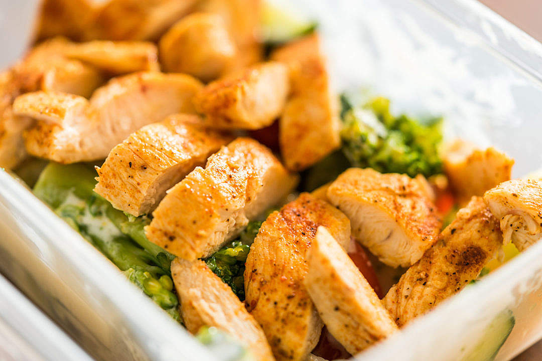 Download Fitness Meal Lunch Grilled Chicken Steak in Plastic Box FREE Stock Photo