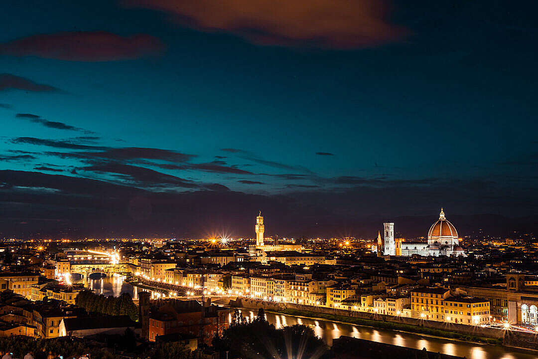 Download Florence, Italy at Night FREE Stock Photo
