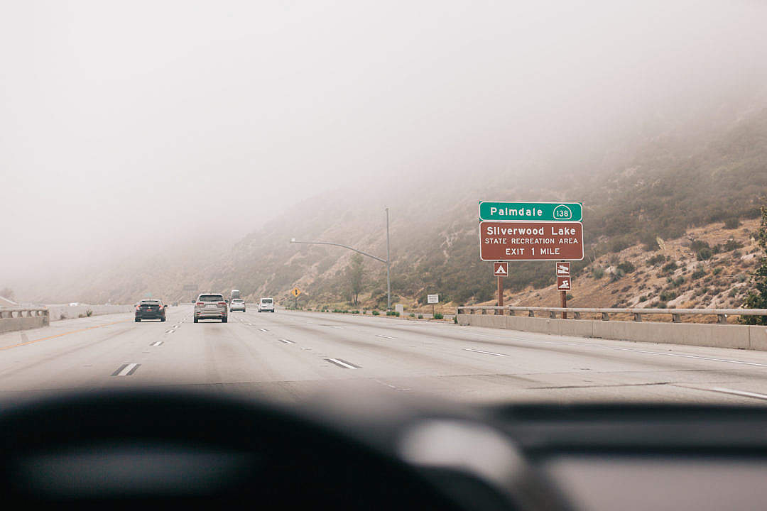 Download Foggy Day on a Freeway in California FREE Stock Photo