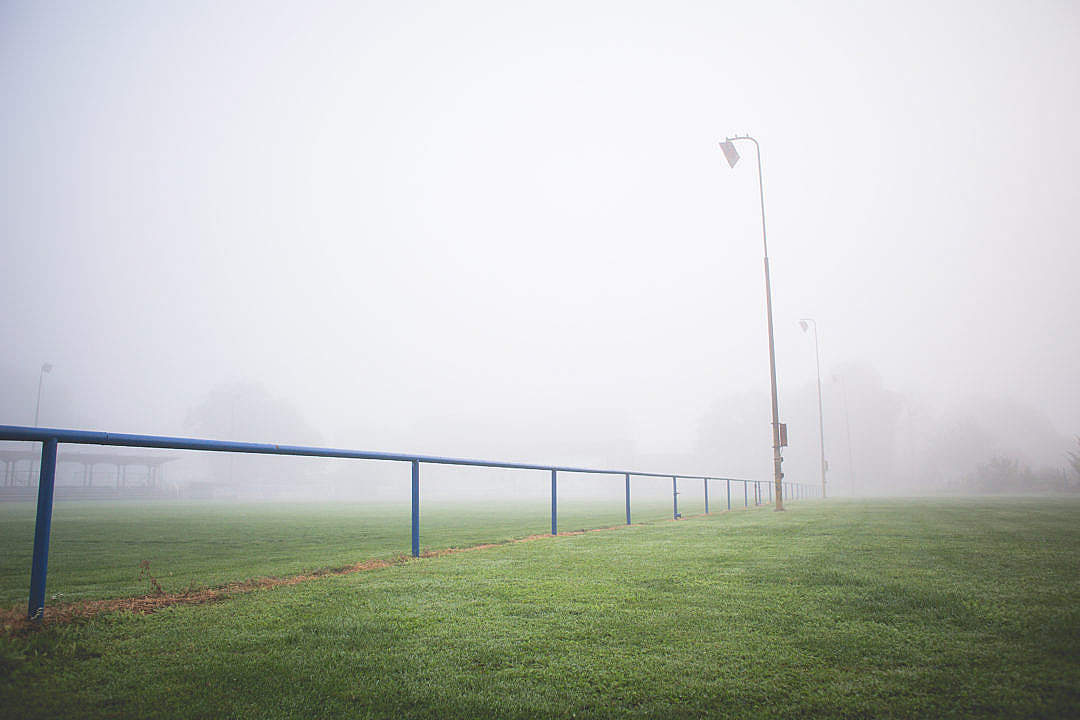 Download Foggy Football Pitch in the Morning FREE Stock Photo