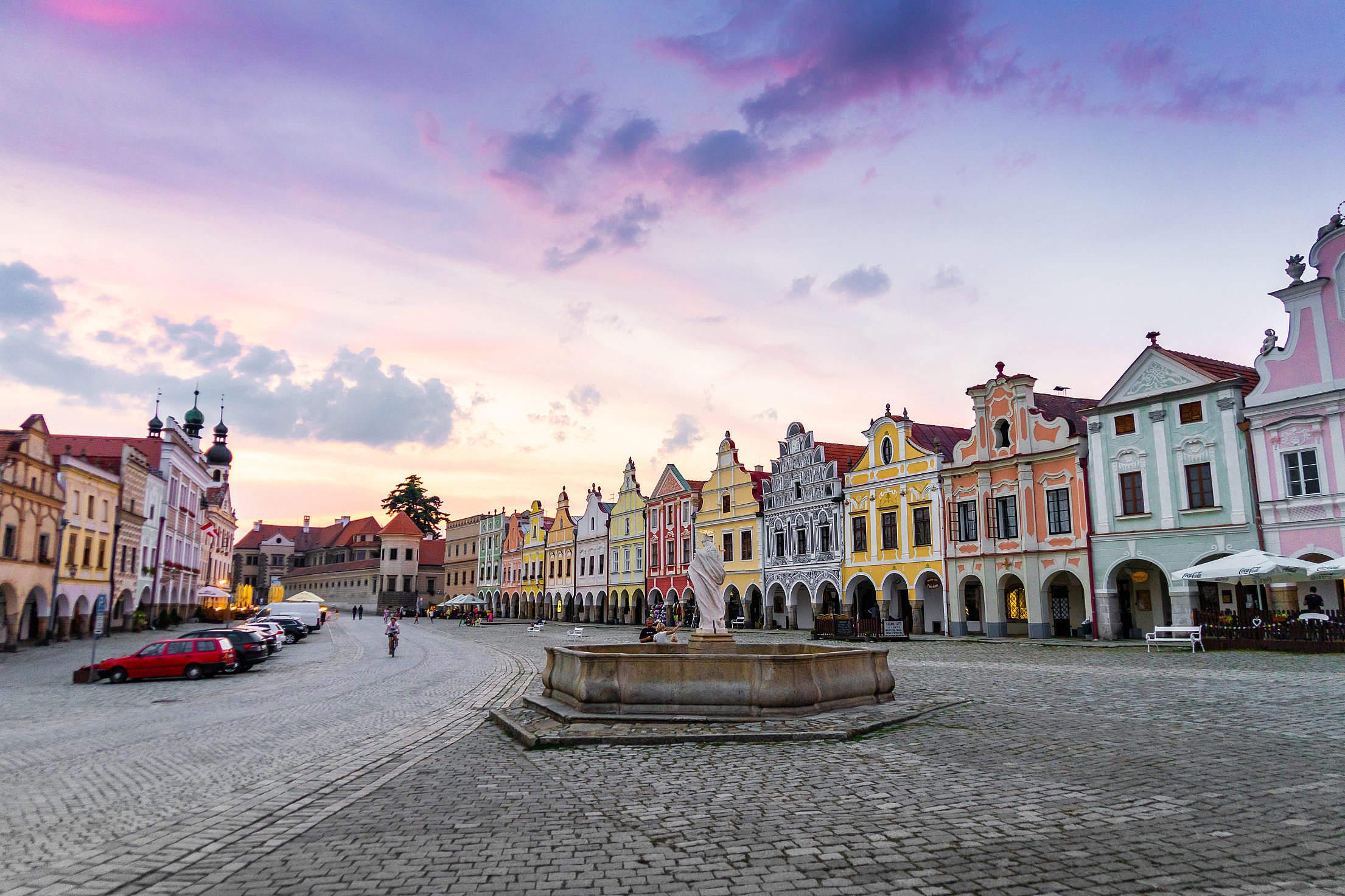 Fountain in Czech City Telč Free Stock Photo