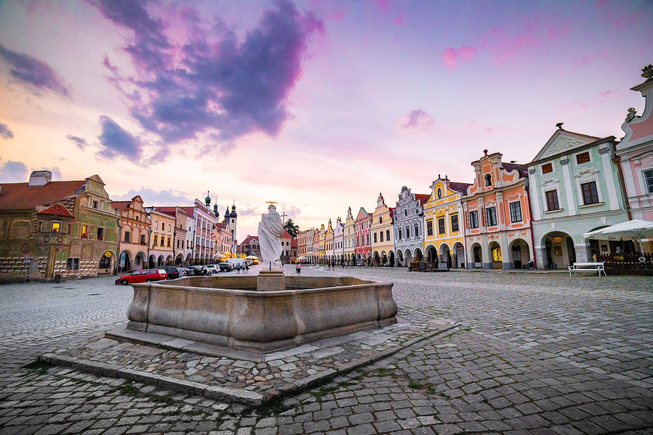 Fountain in The Colorful Square of Telč Free Stock Photo