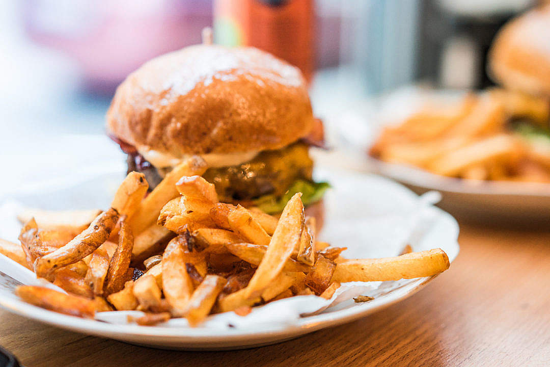 Download French Fries and Fresh Bacon Burger FREE Stock Photo