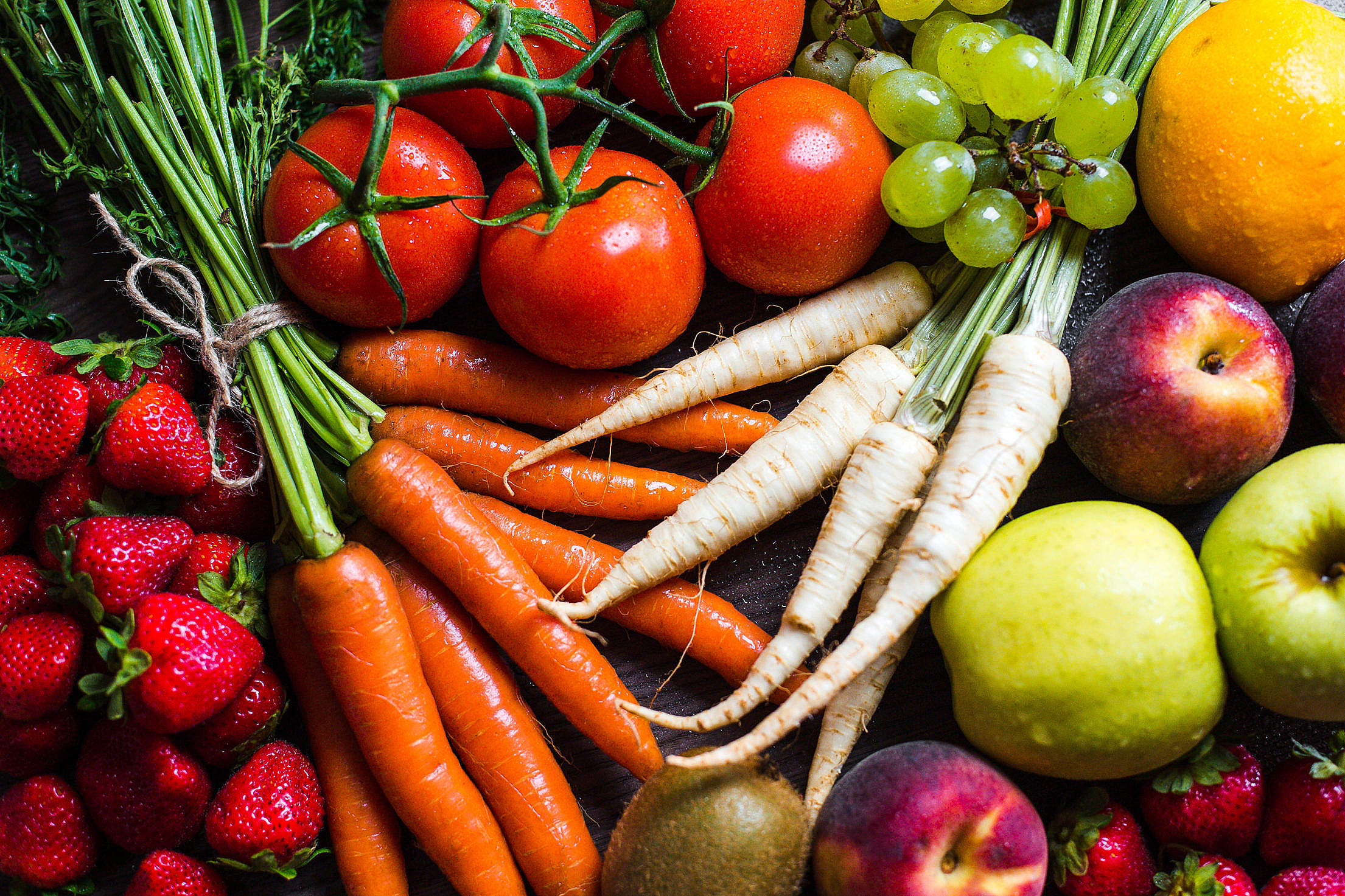 Fresh & Colorful Fruits and Vegetables Free Stock Photo