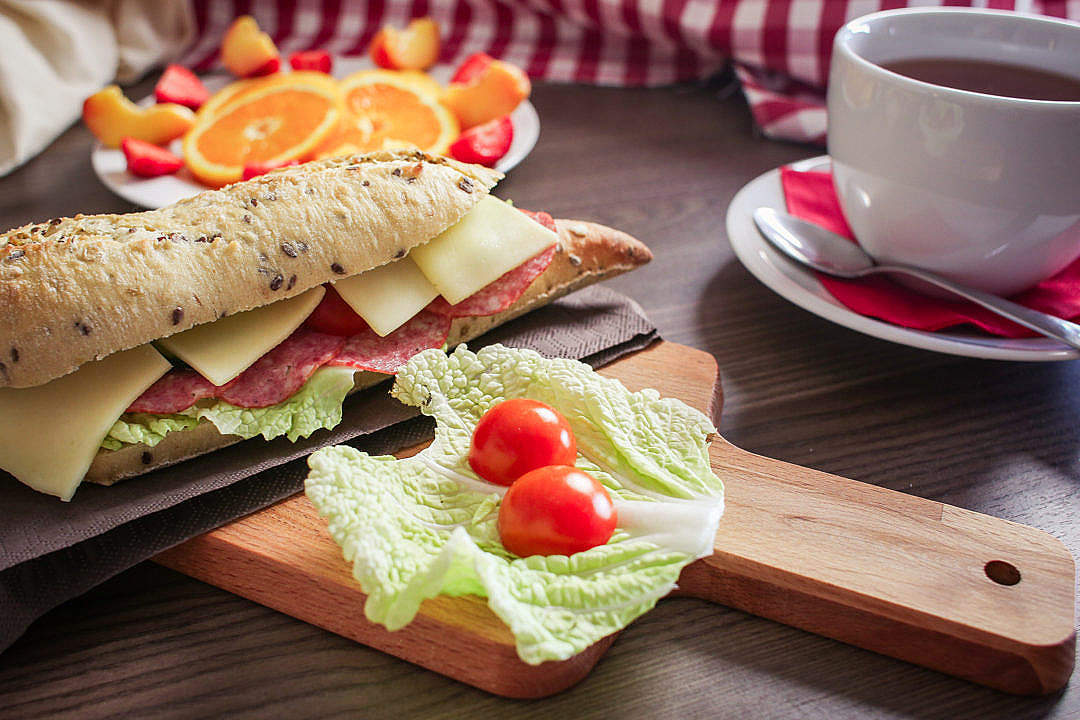 Download Fresh Baguette Breakfast FREE Stock Photo
