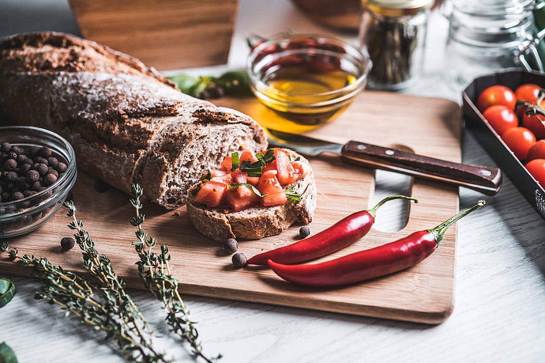 Download Fresh Bread with Tomato and Basil FREE Stock Photo
