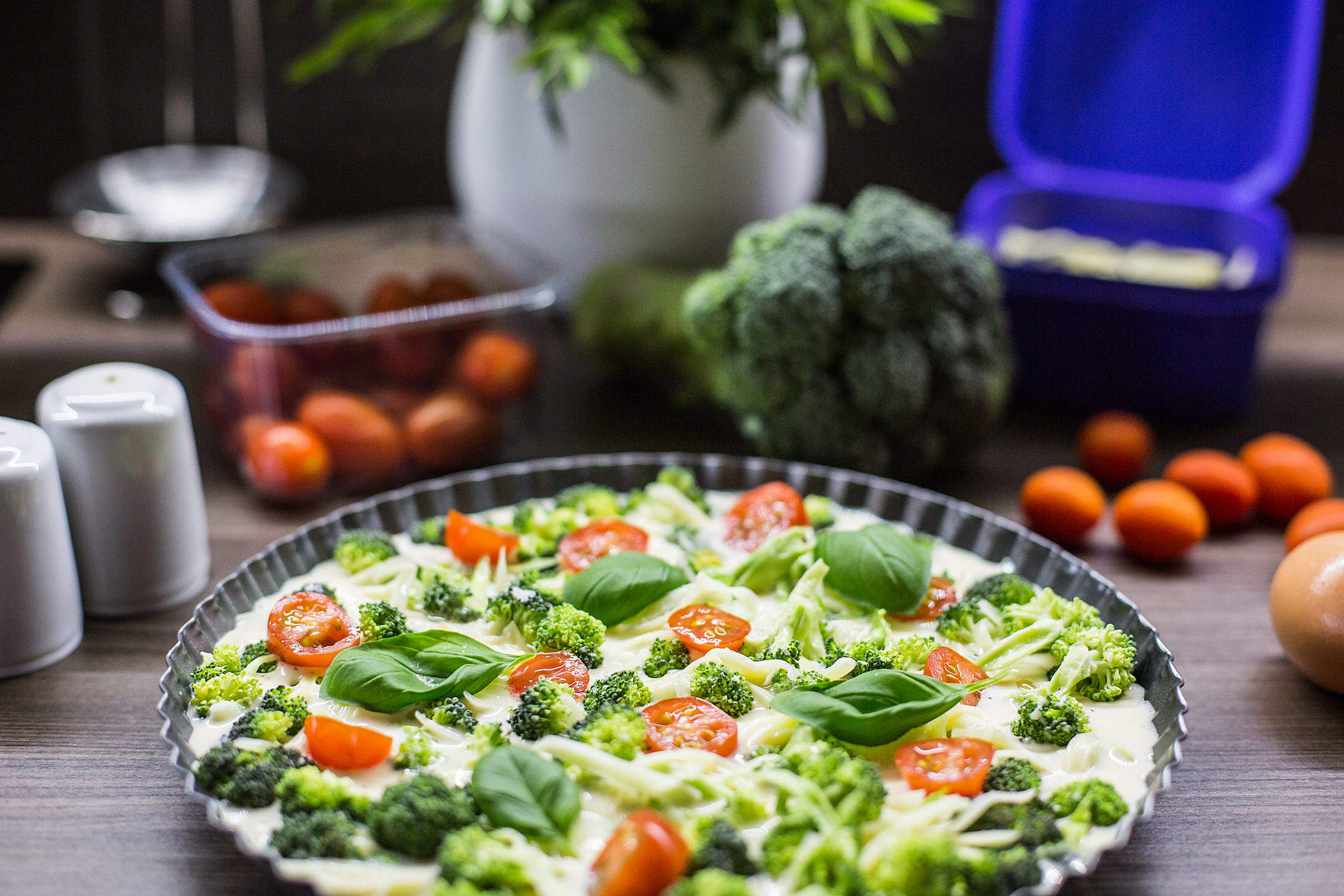 Fresh & Healthy Fitness Broccoli Pie with Basil Free Stock Photo