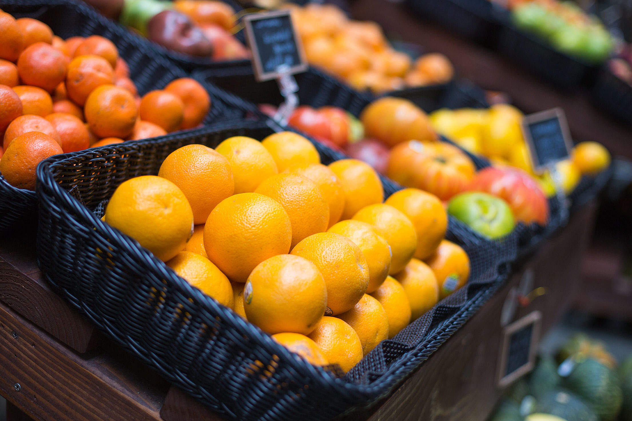 Fresh Oranges on Small Farmer's Market Free Stock Photo