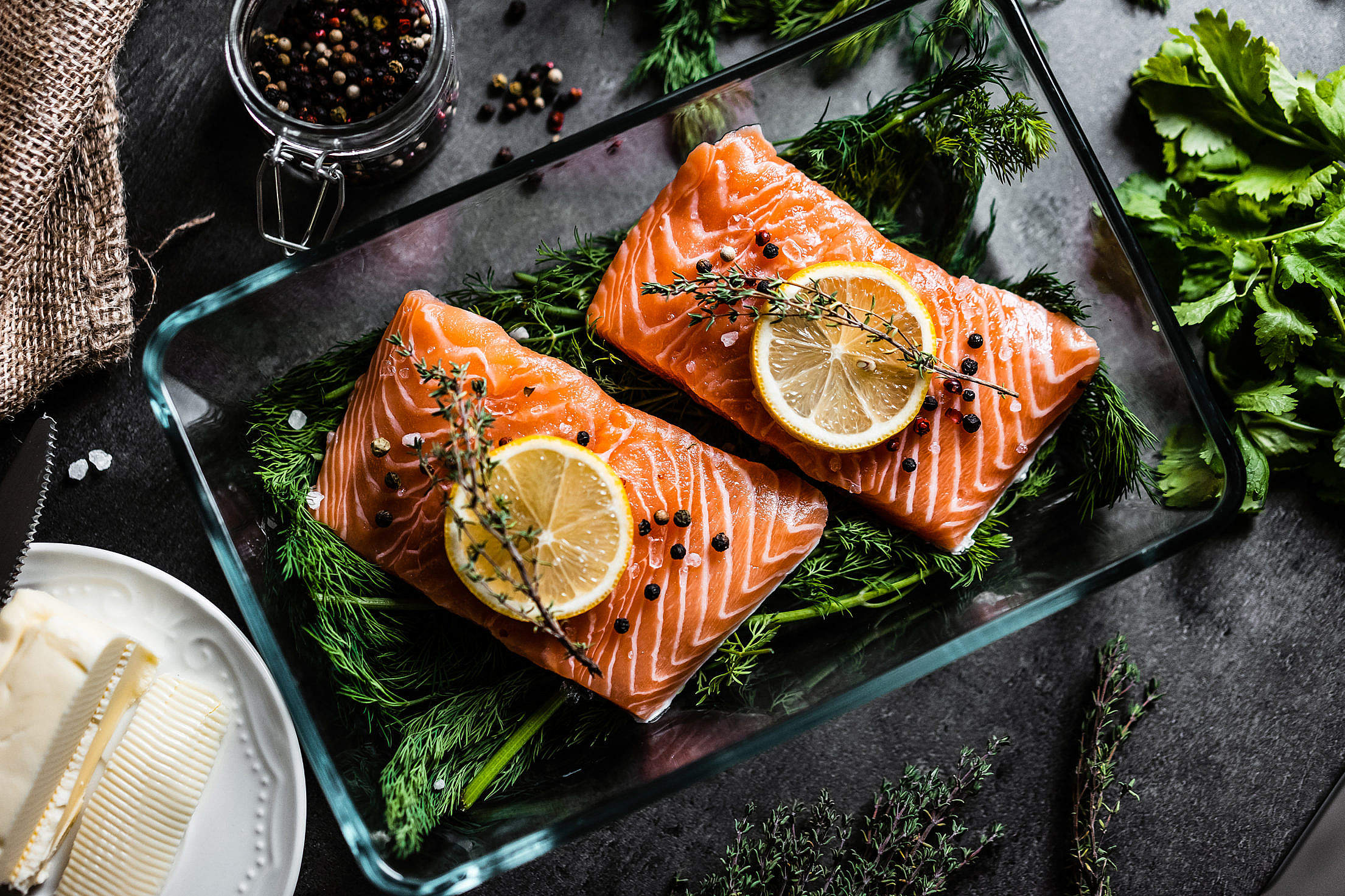Fresh Salmon Fillets Free Stock Photo