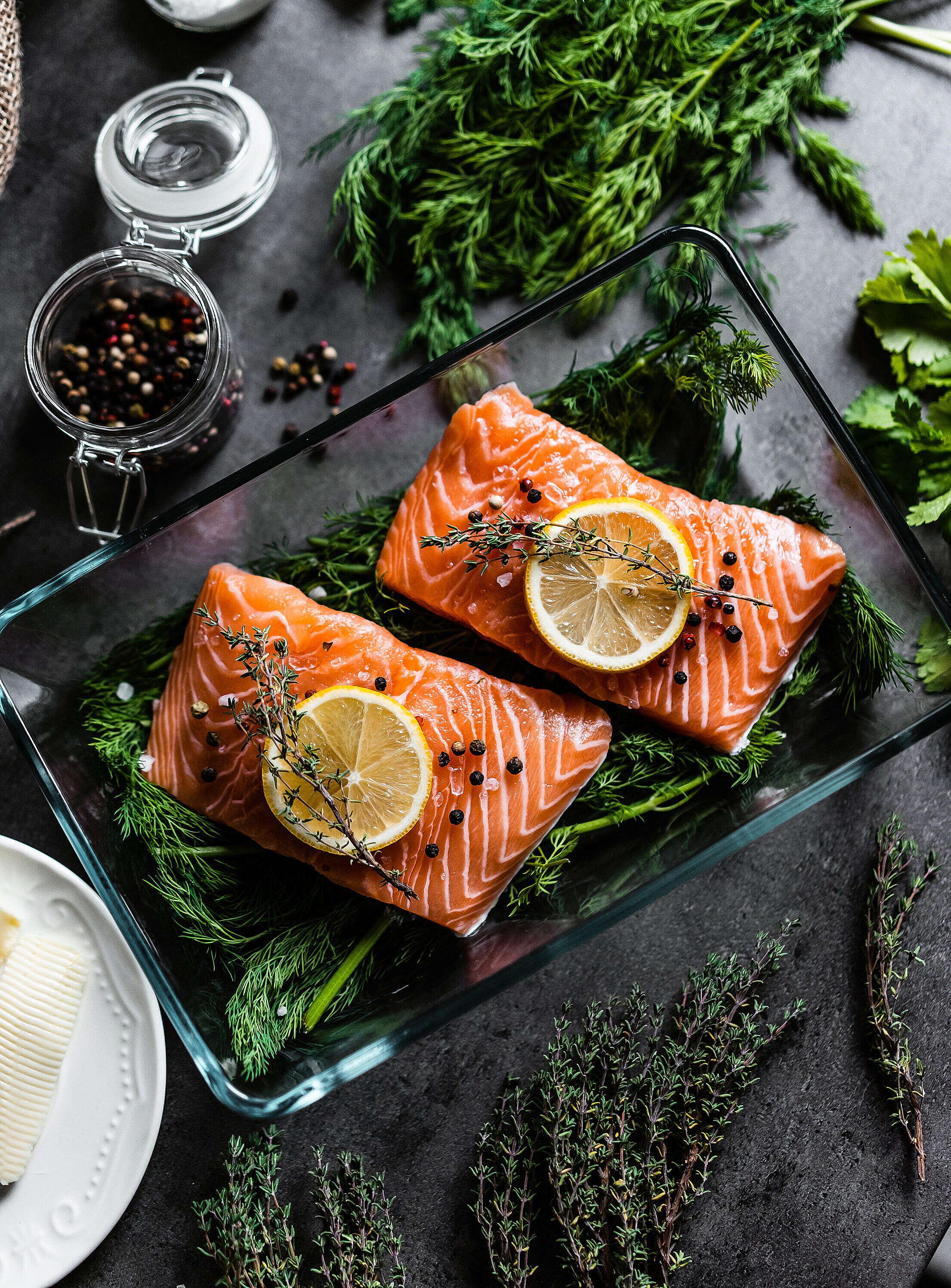 Fresh Salmon Fillets Free Stock Photo