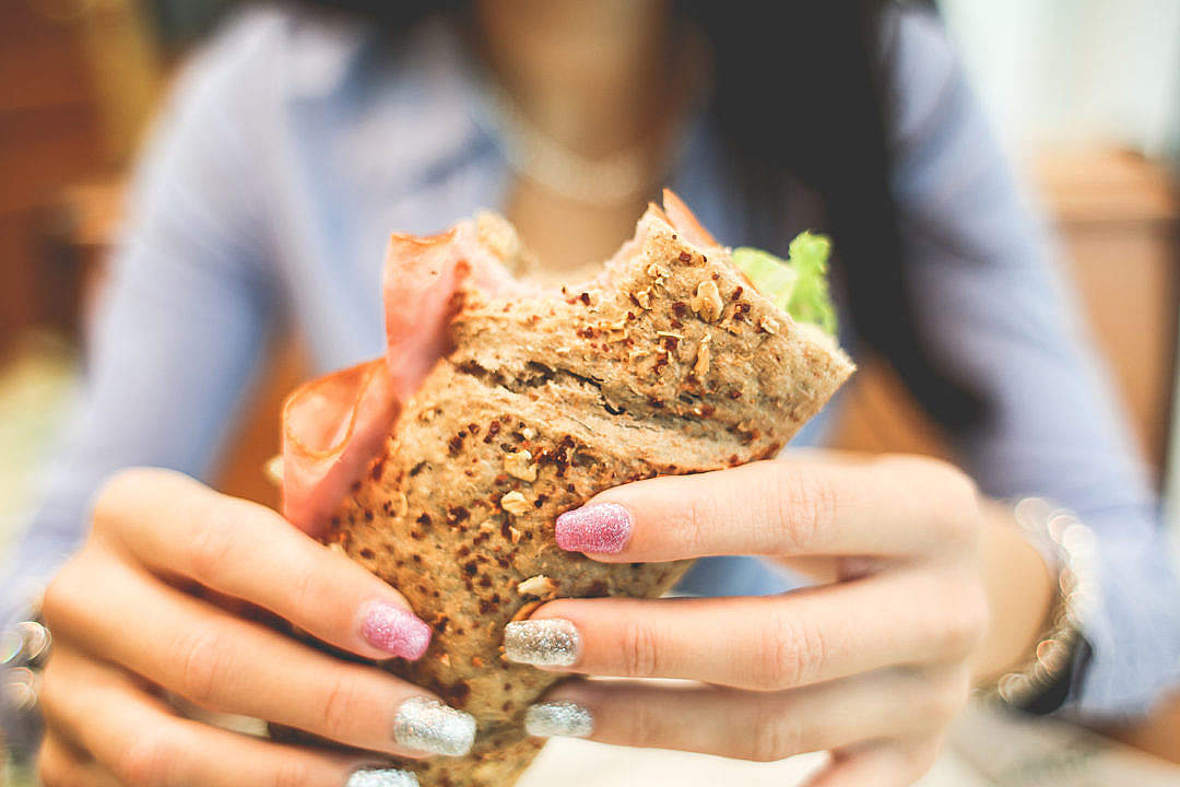 Download Fresh Sandwich in Girls Hands FREE Stock Photo