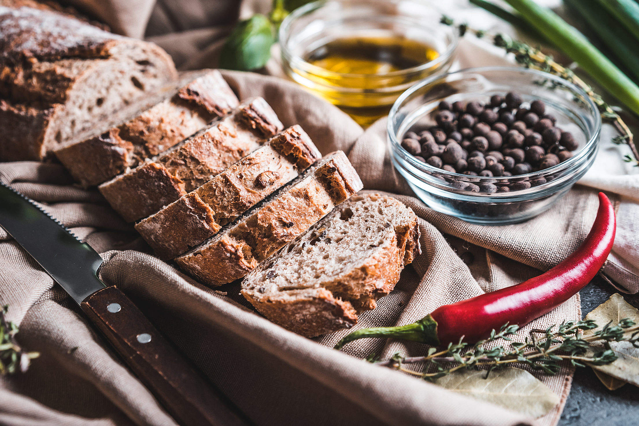 Fresh Slices of Country Bread Free Stock Photo