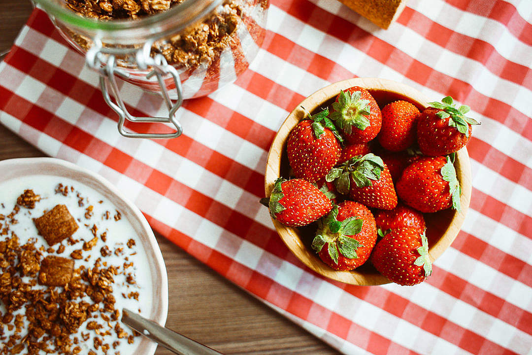 Download Fresh Strawberries Breakfast FREE Stock Photo