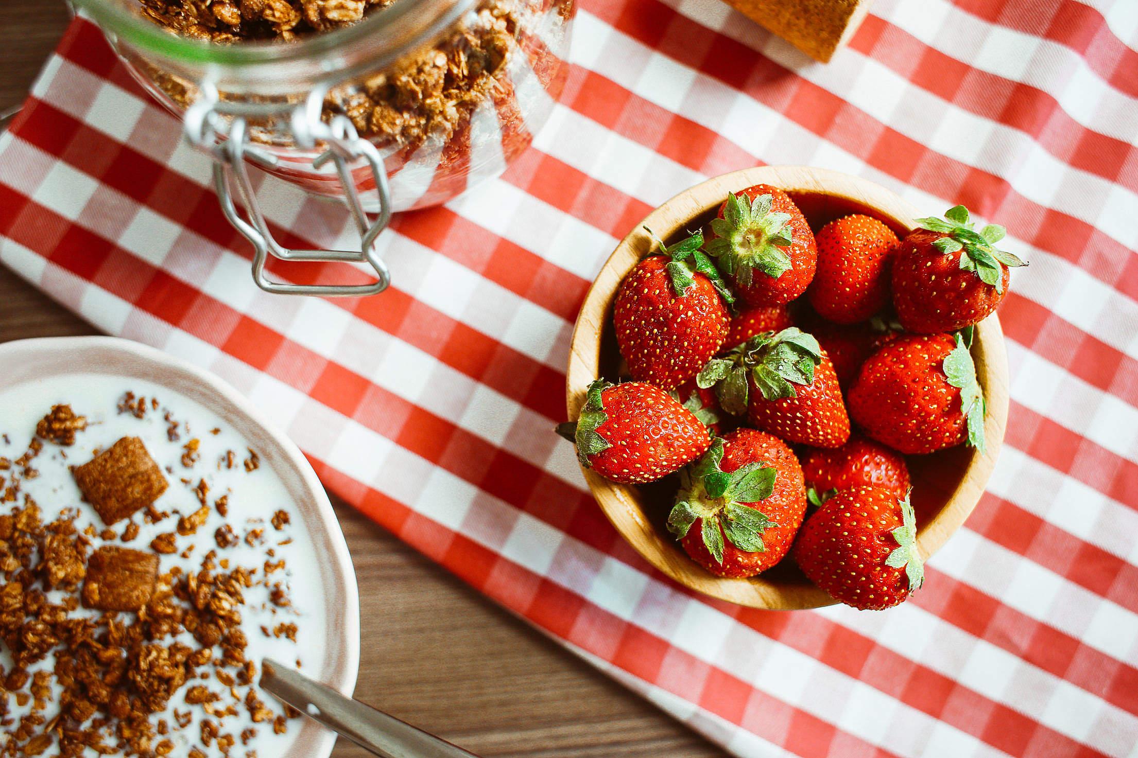 Fresh Strawberries Breakfast Free Stock Photo