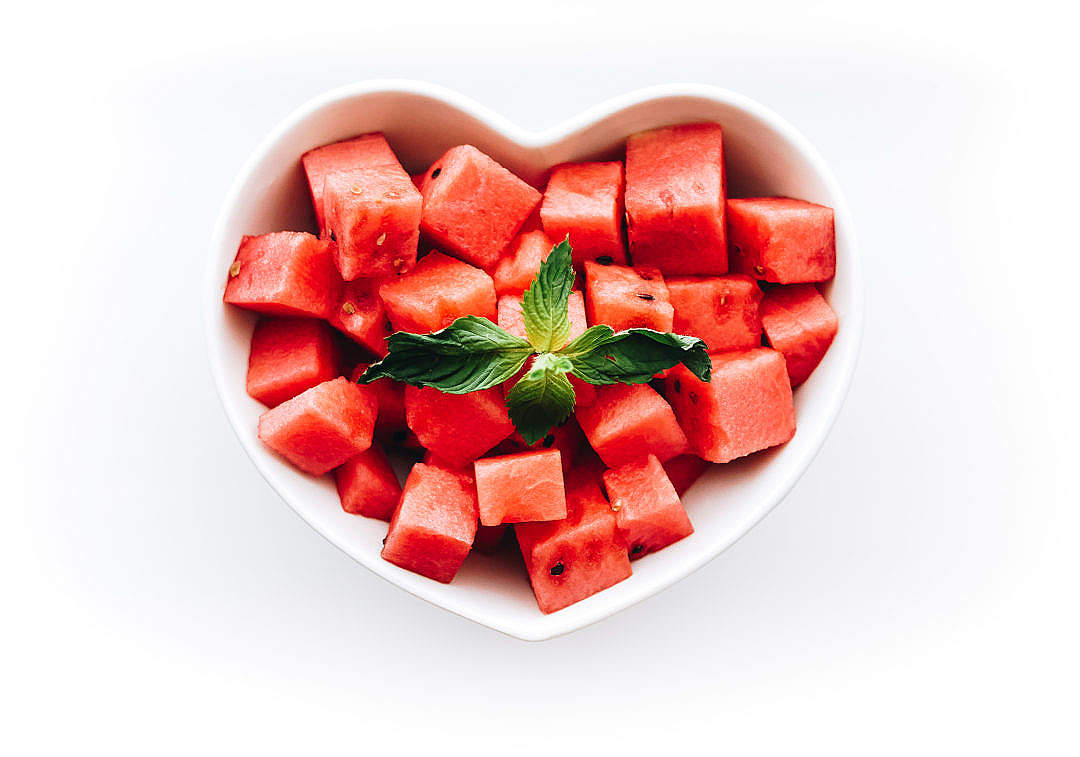 Download Fresh Watermelon in Heart-Shaped Bowl FREE Stock Photo