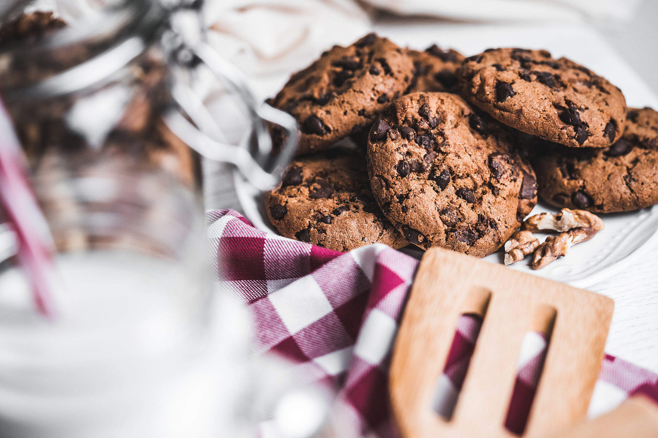Download Freshly Baked Chocolate Cookies Free Stock Photo