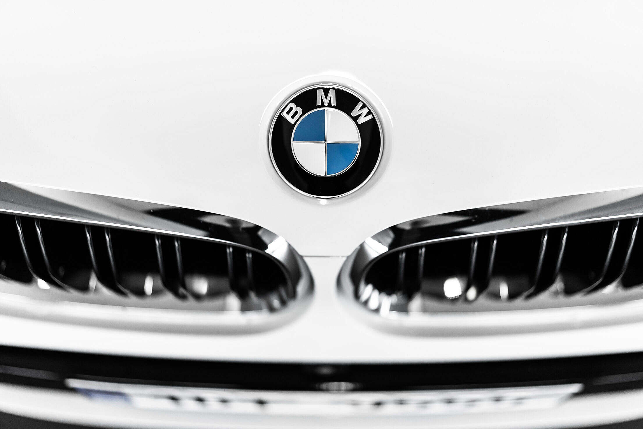 Front Grille of a BMW Car Free Stock Photo
