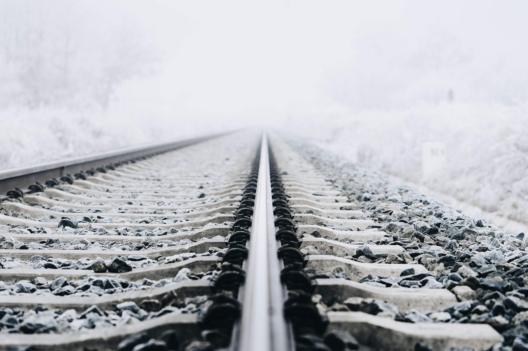 Frost on The Railway Free Stock Photo