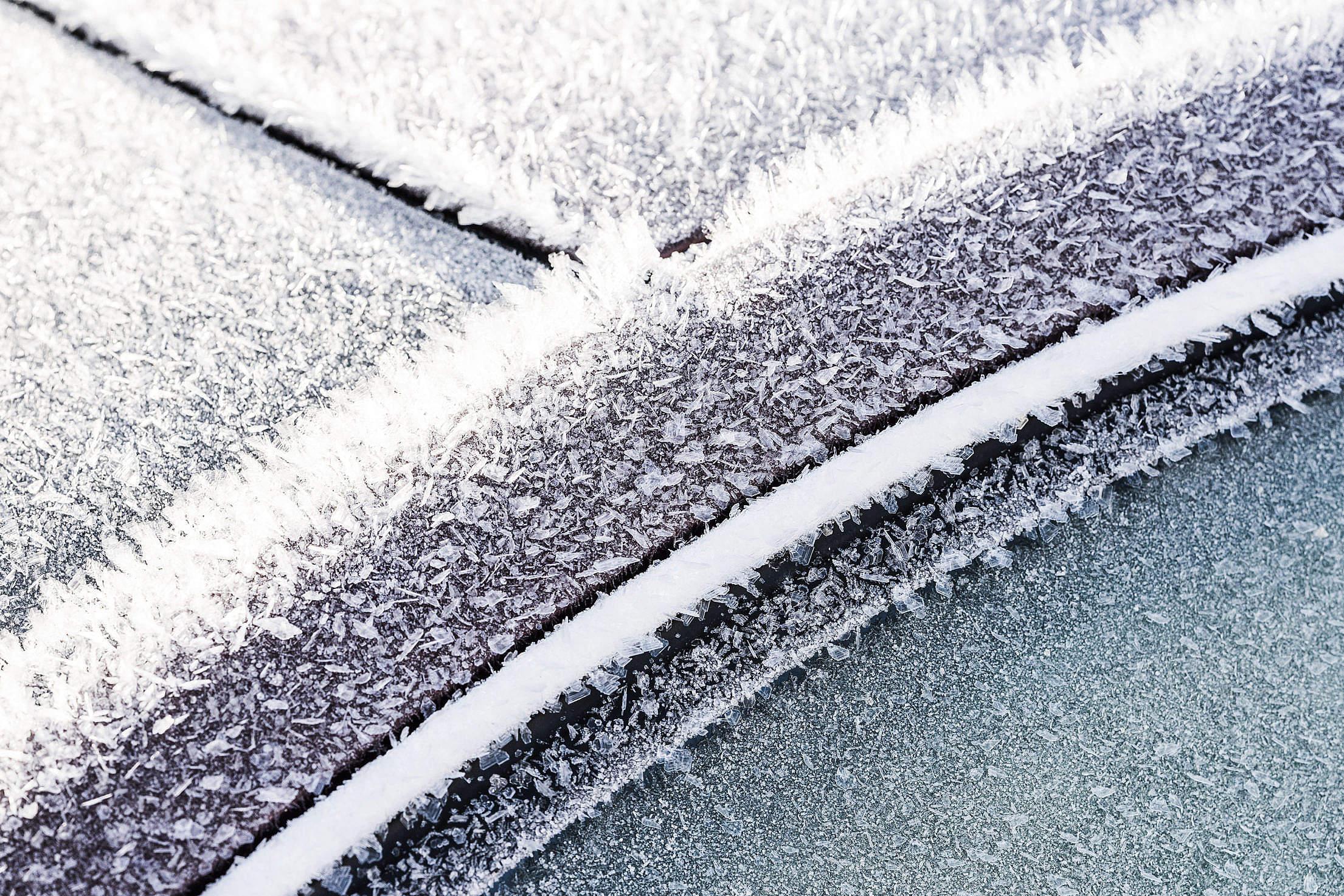 Frozen Car Windows and Doors Close Up Free Stock Photo