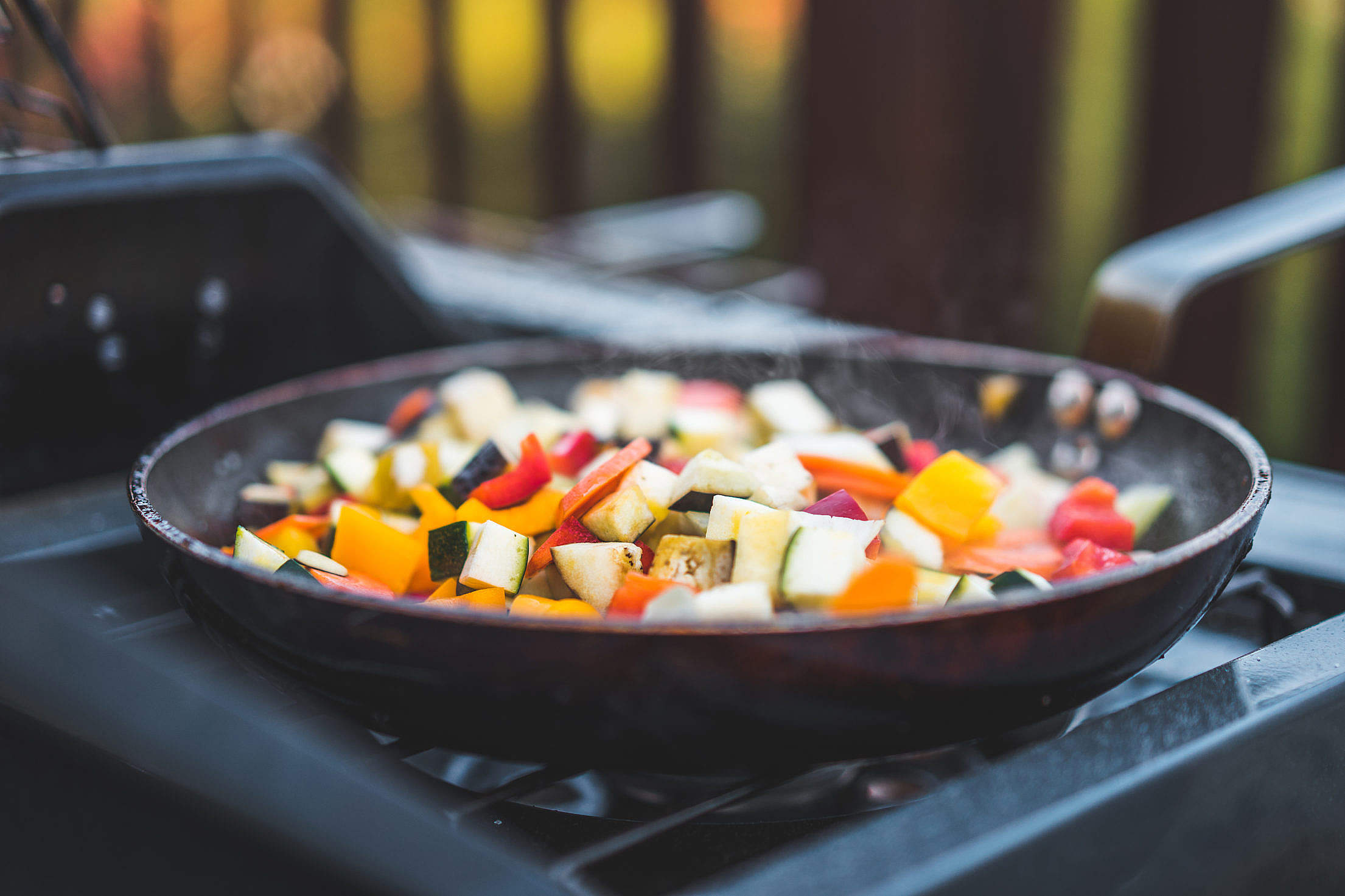 Frying Vegetables on a Pan Free Stock Photo
