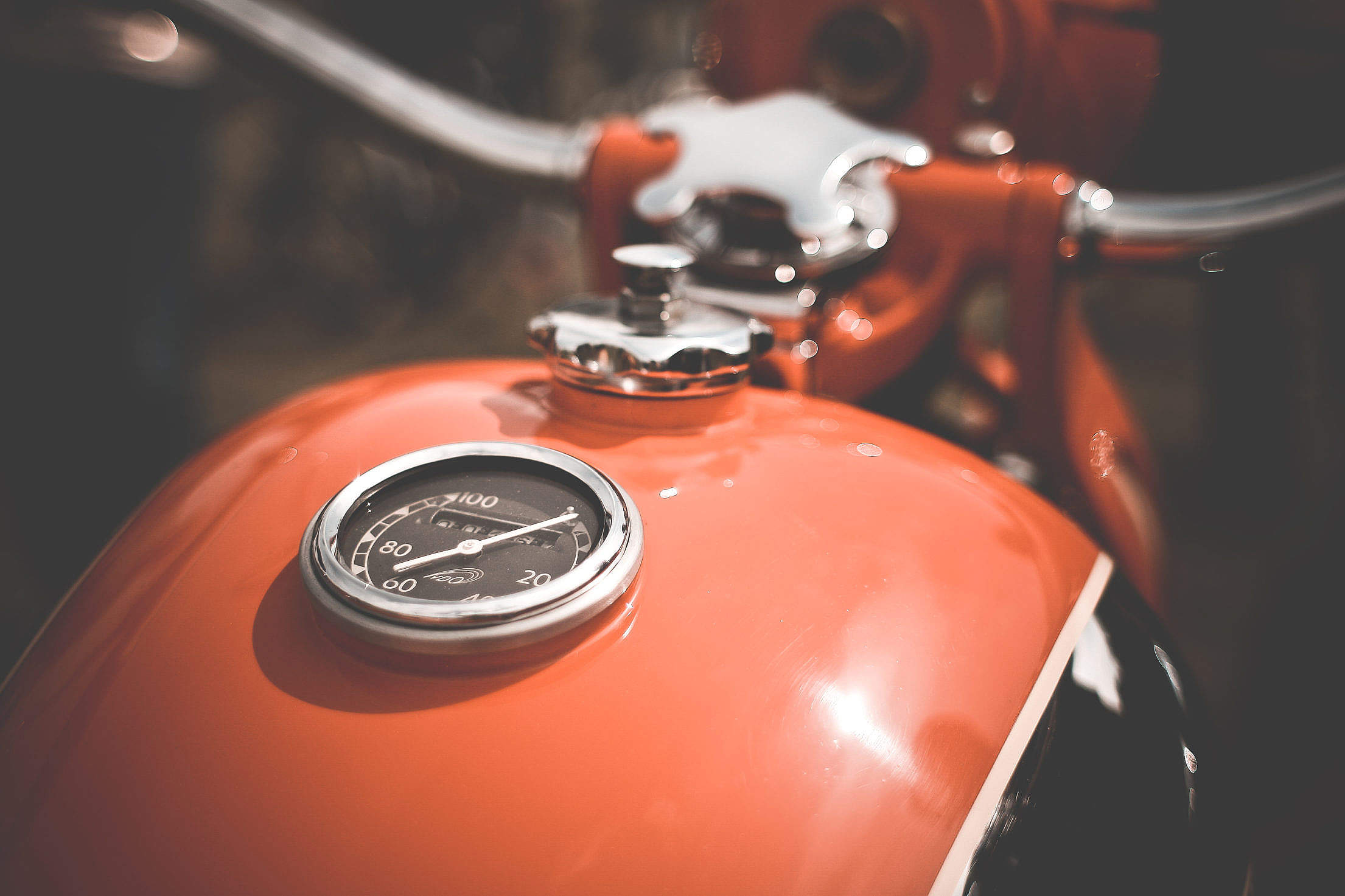 Fuel Tank on Old Retro Motorcycle Free Stock Photo