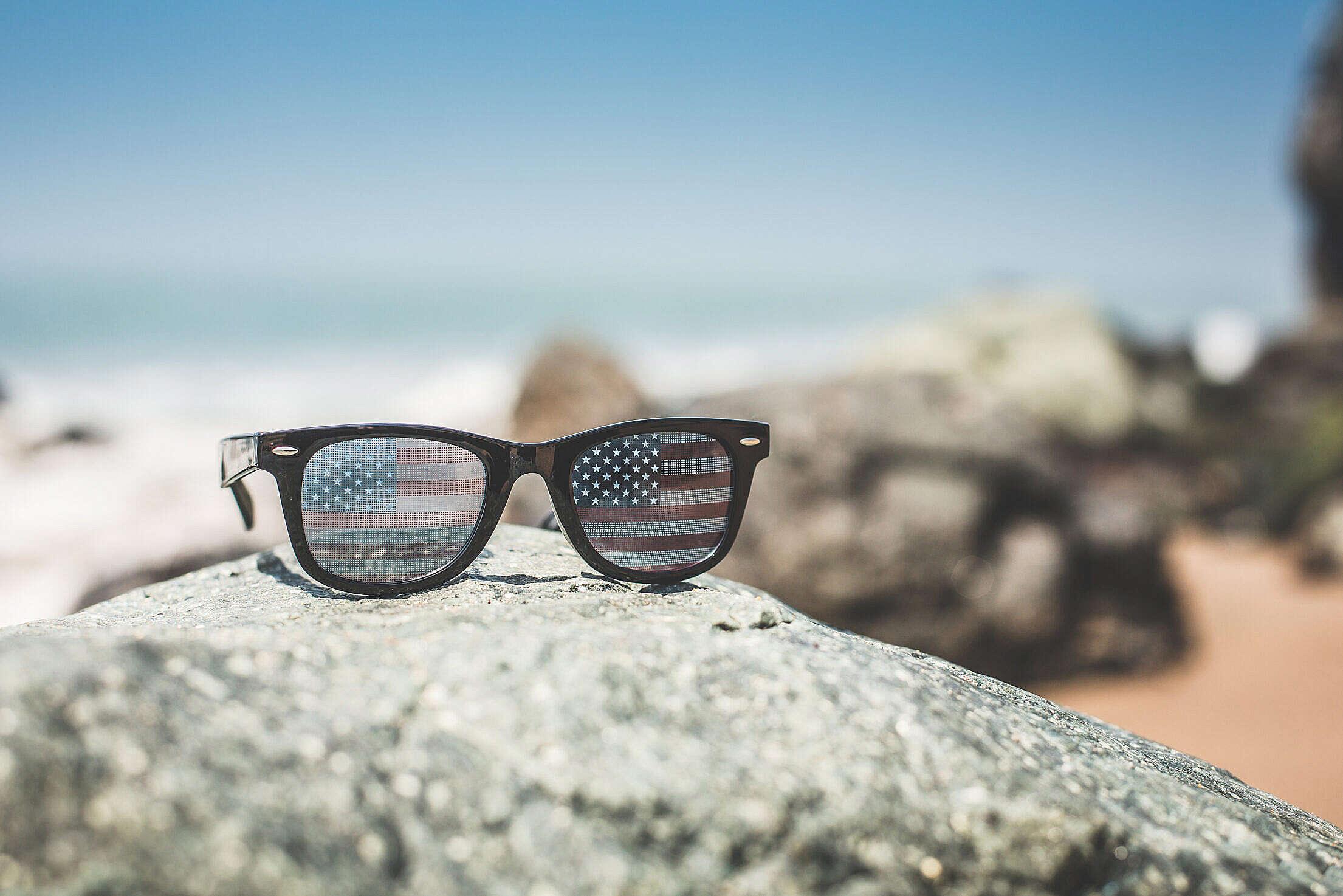 Funny USA America Flag Retro Sunglasses Free Stock Photo