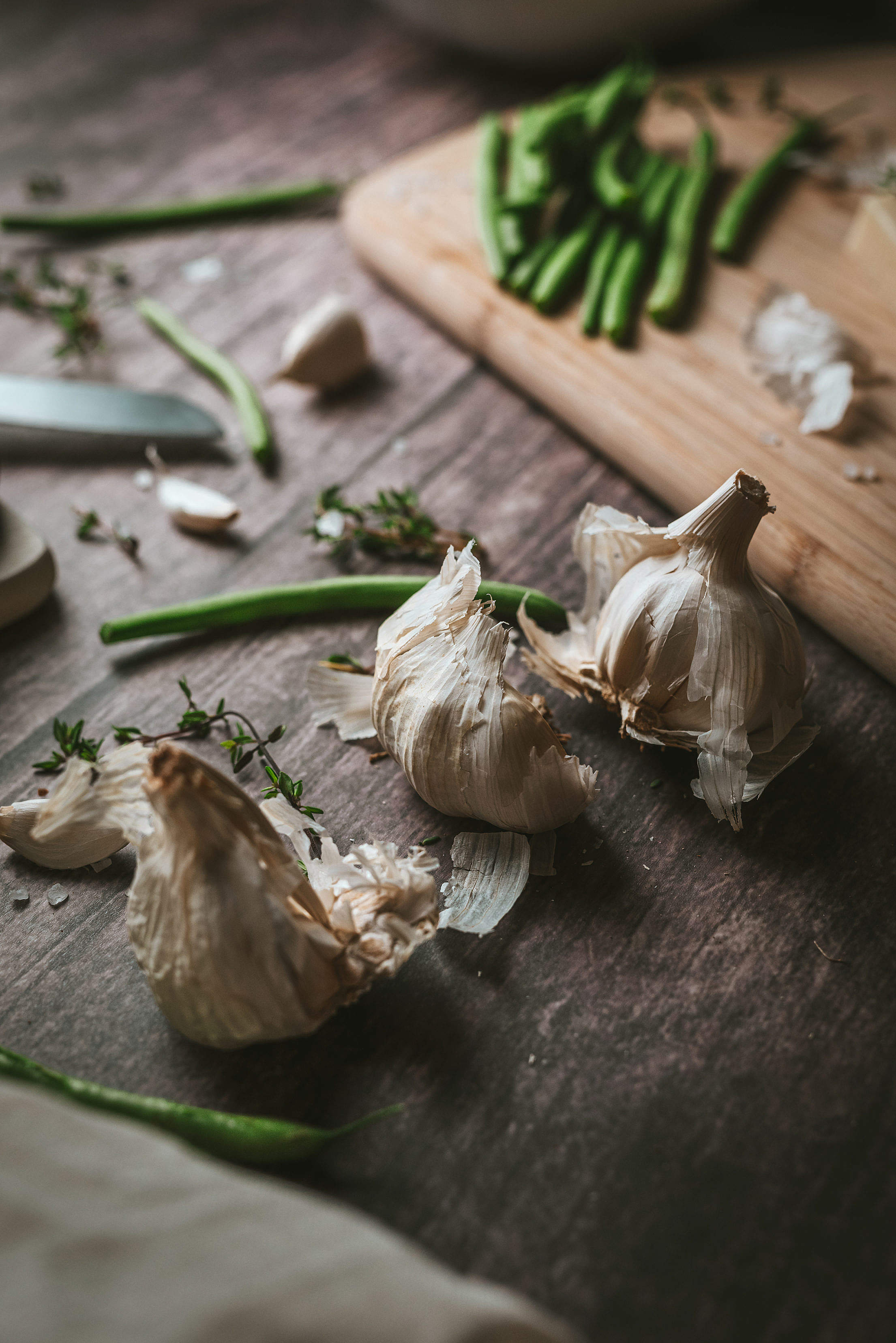Garlic Head on a Wooden Rustic Table Free Stock Photo